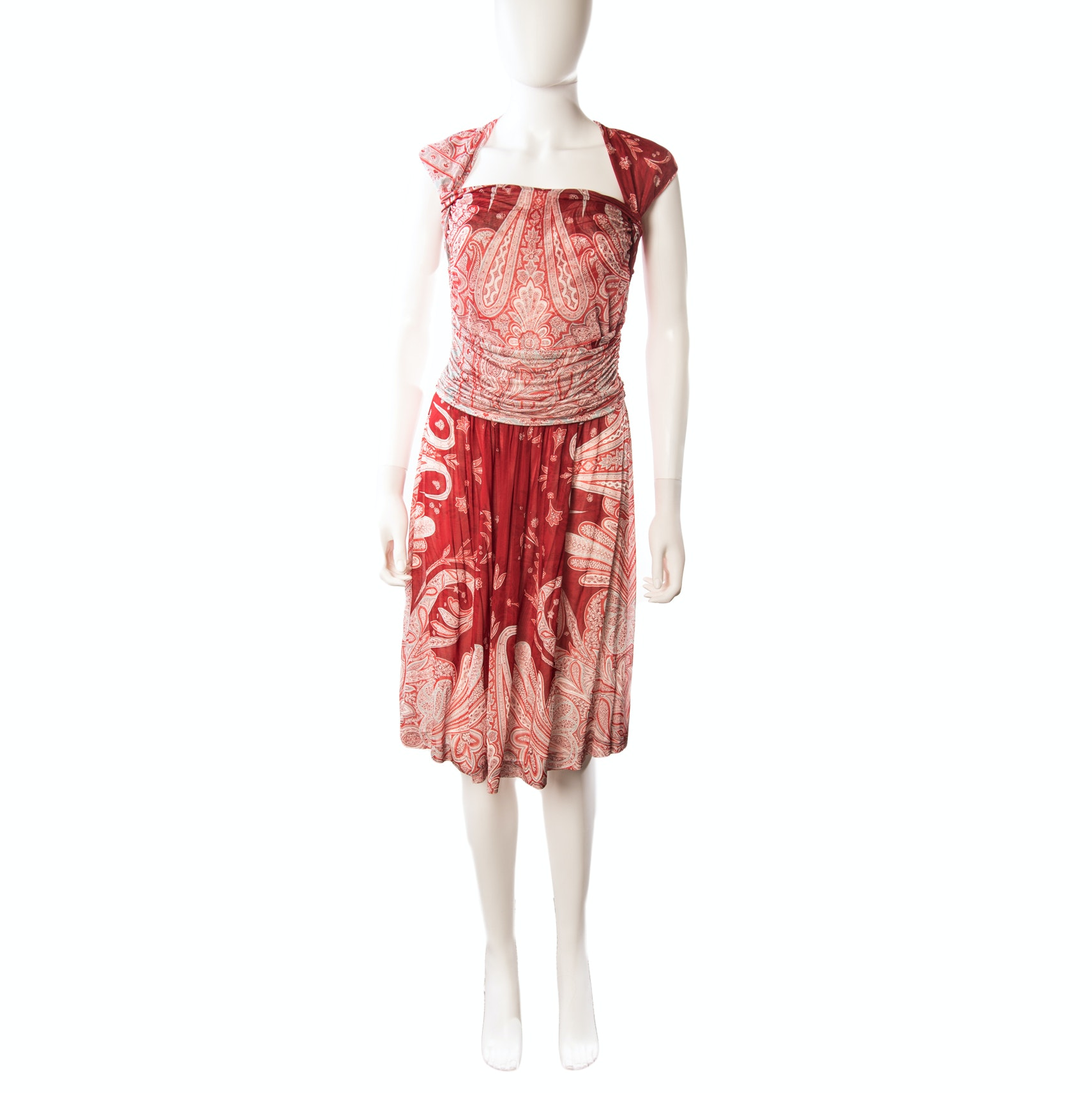 Etro Milano Paisley Print Sleeveless Sheath Dress with Square Neckline