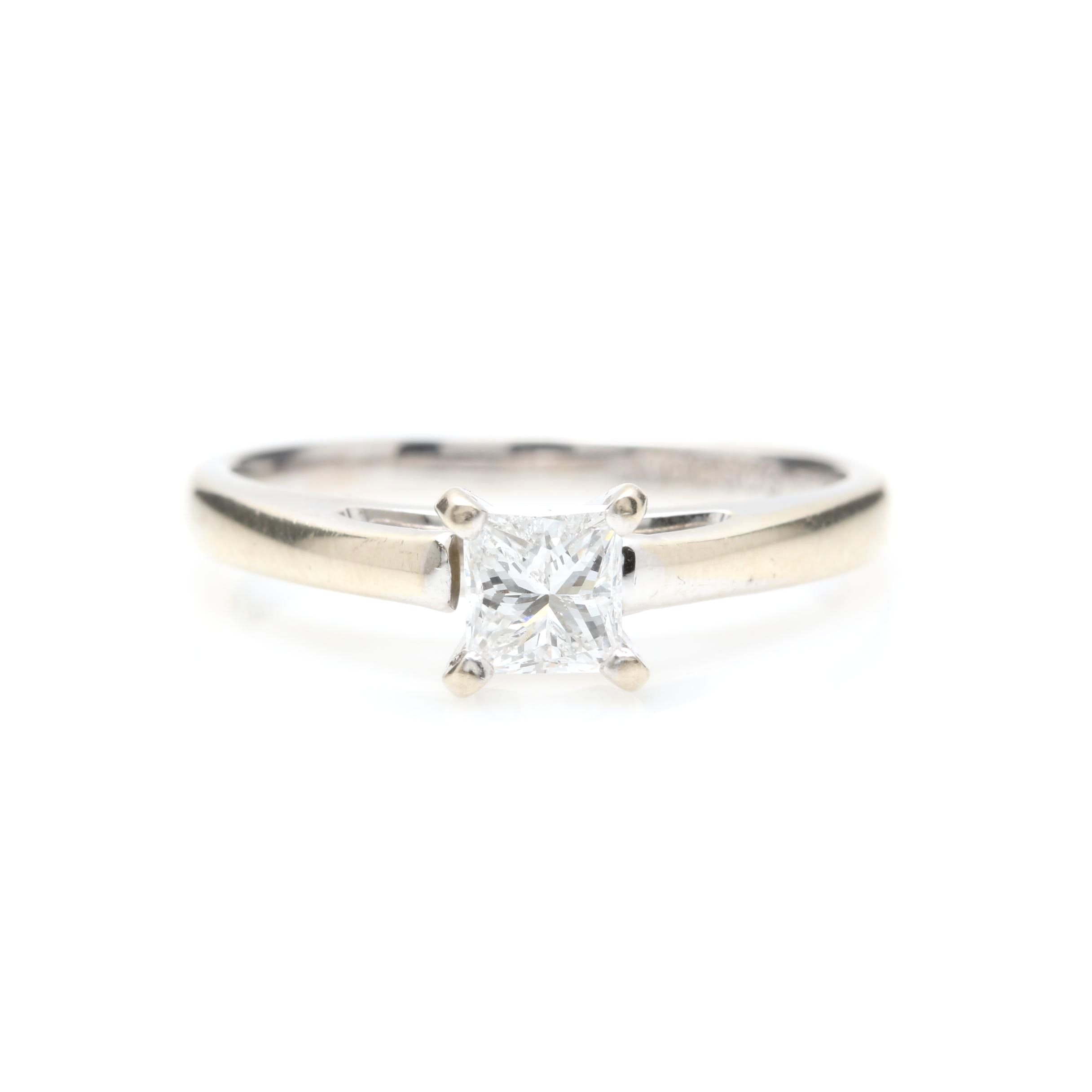 Platinum and 14K White Gold Diamond Solitaire Ring
