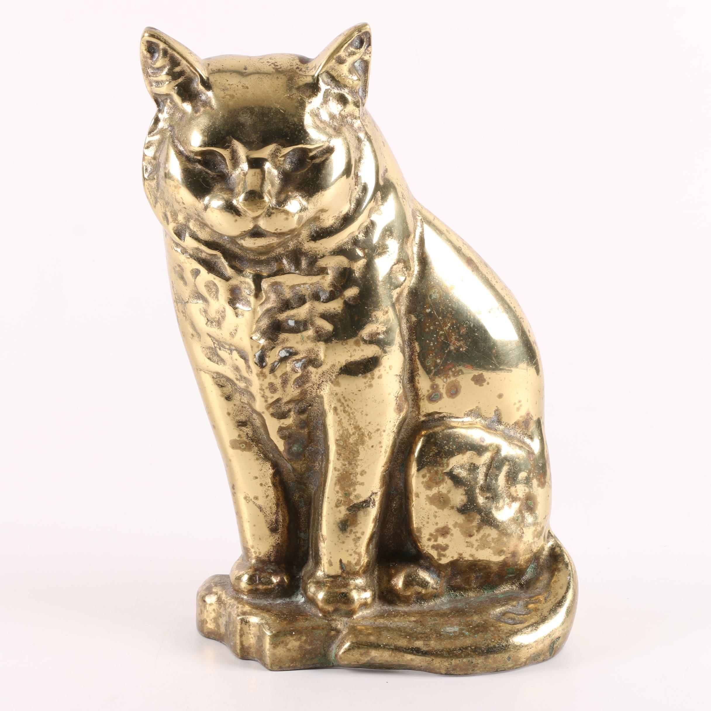 Sitting Cat Brass Doorstop