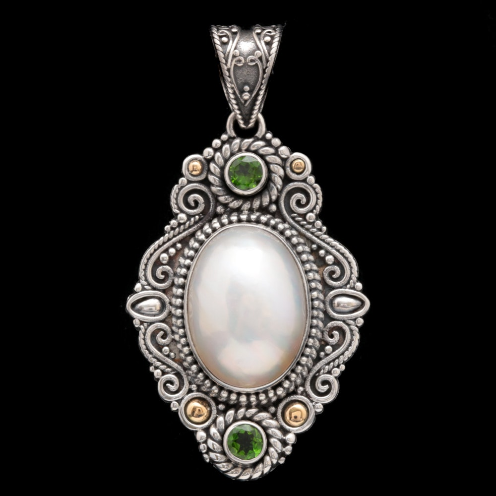 Robert Manse Sterling Silver, 18K Gold, Mabé Pearl and Chrome Diopside Pendant