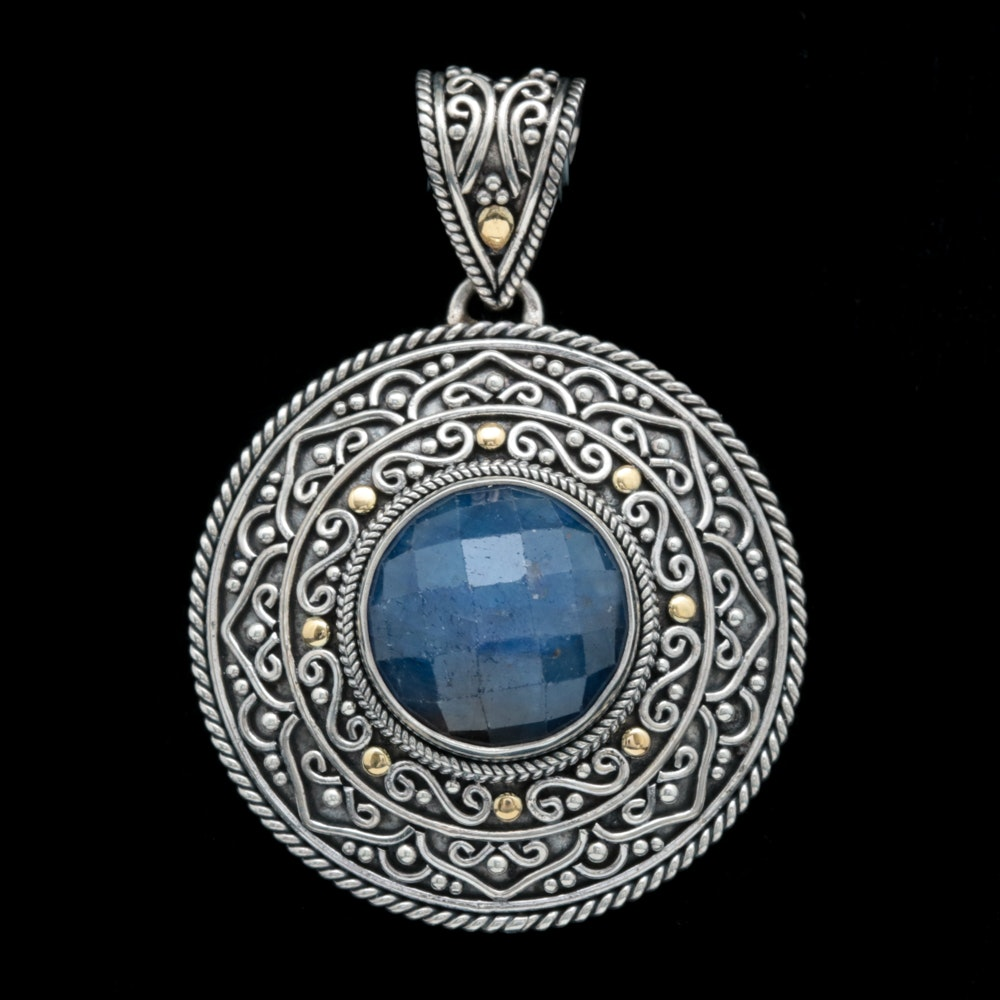Sterling Silver, 18K Yellow Gold and Dyed Blue Corundum Pendant