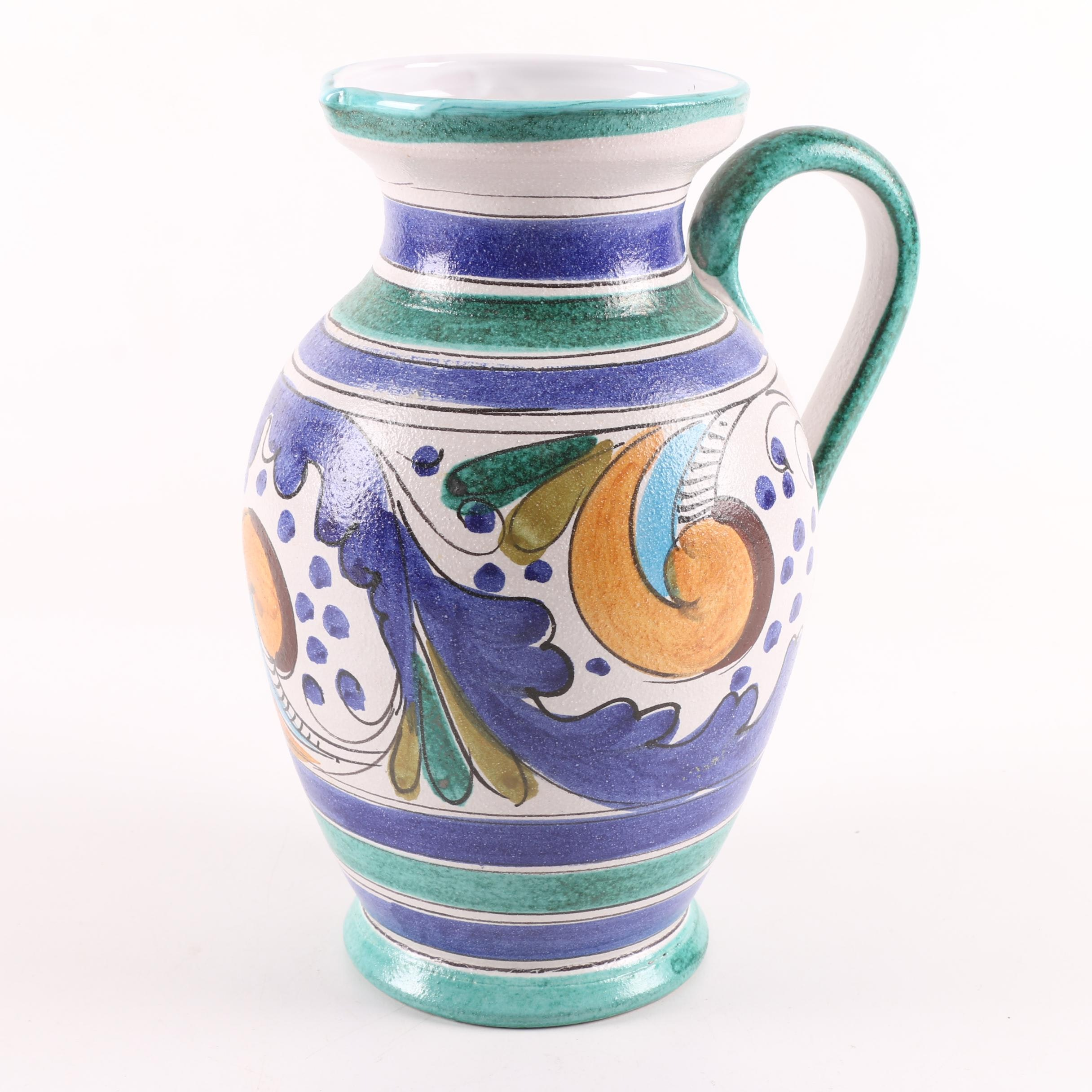 Hand-Painted Stoneware Pitcher