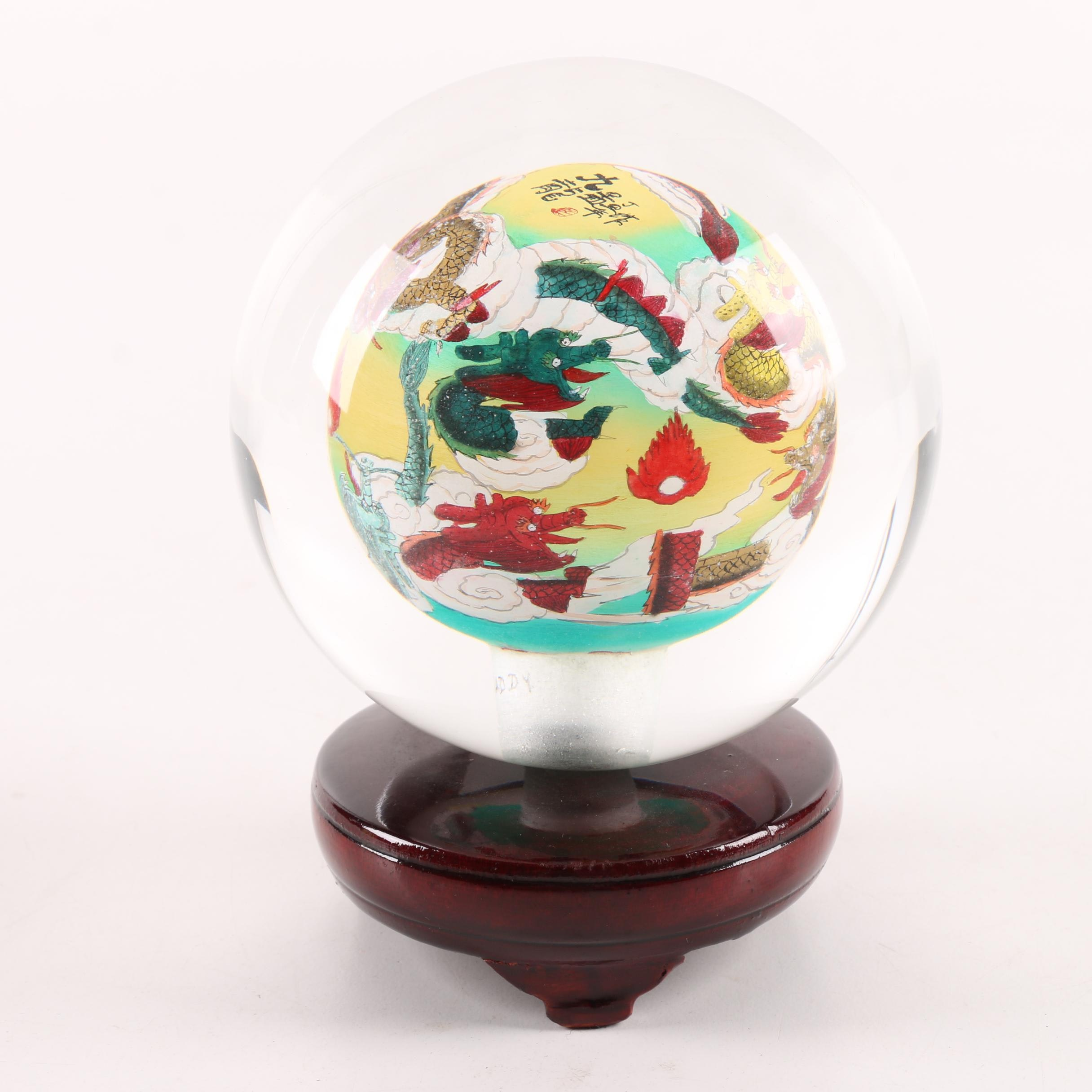 Chinese Reverse Painted Glass Paperweight