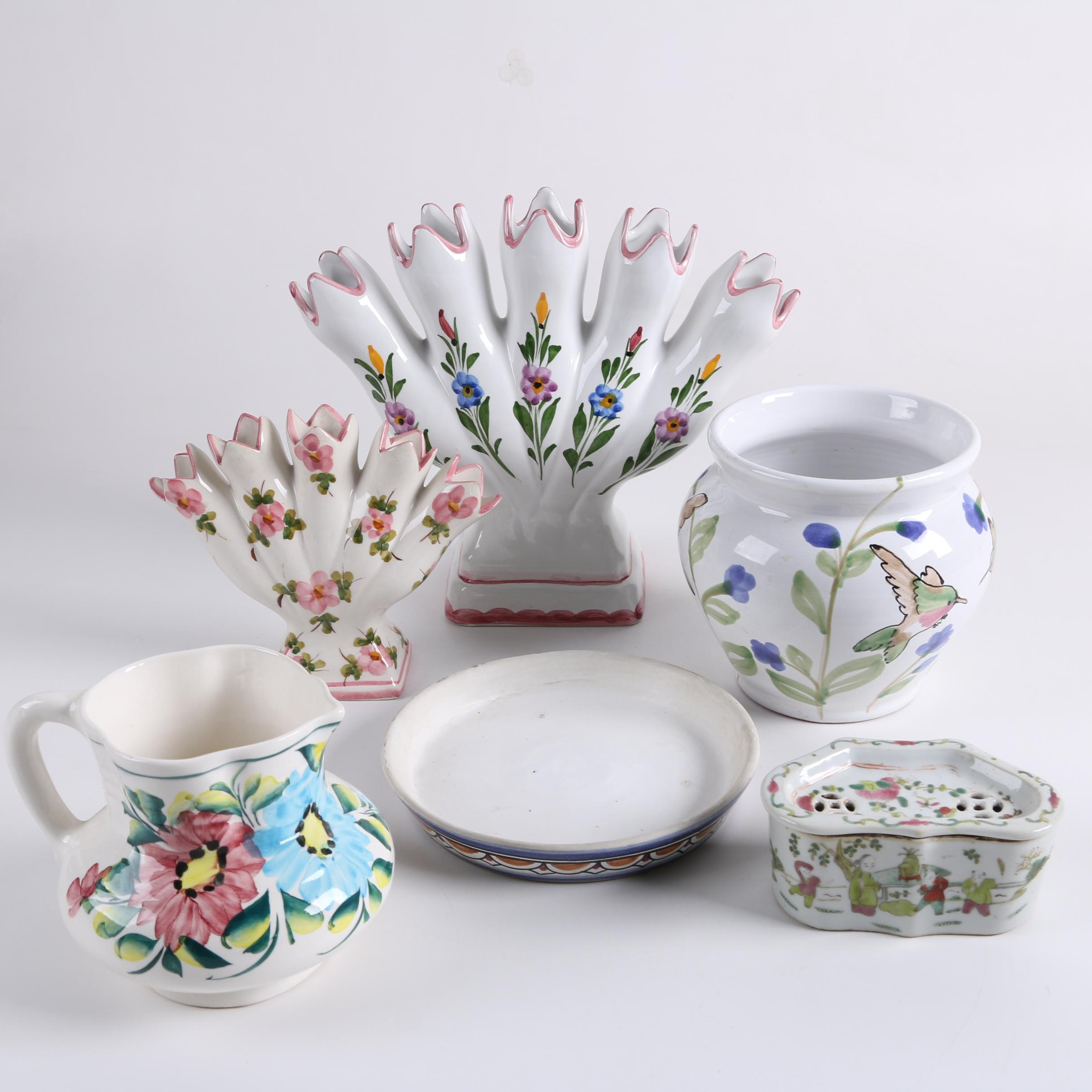 Vintage Ceramic Finger Vases, Bough Pot, and Tableware