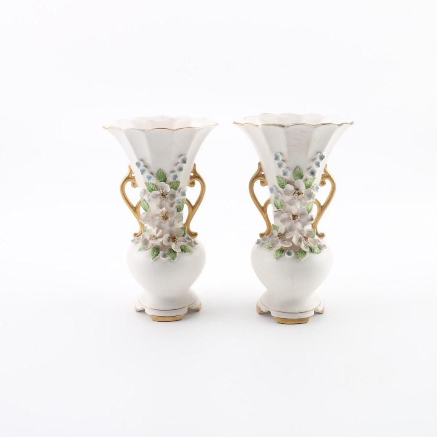 Norcrest Japan Floral China Vases Ebth
