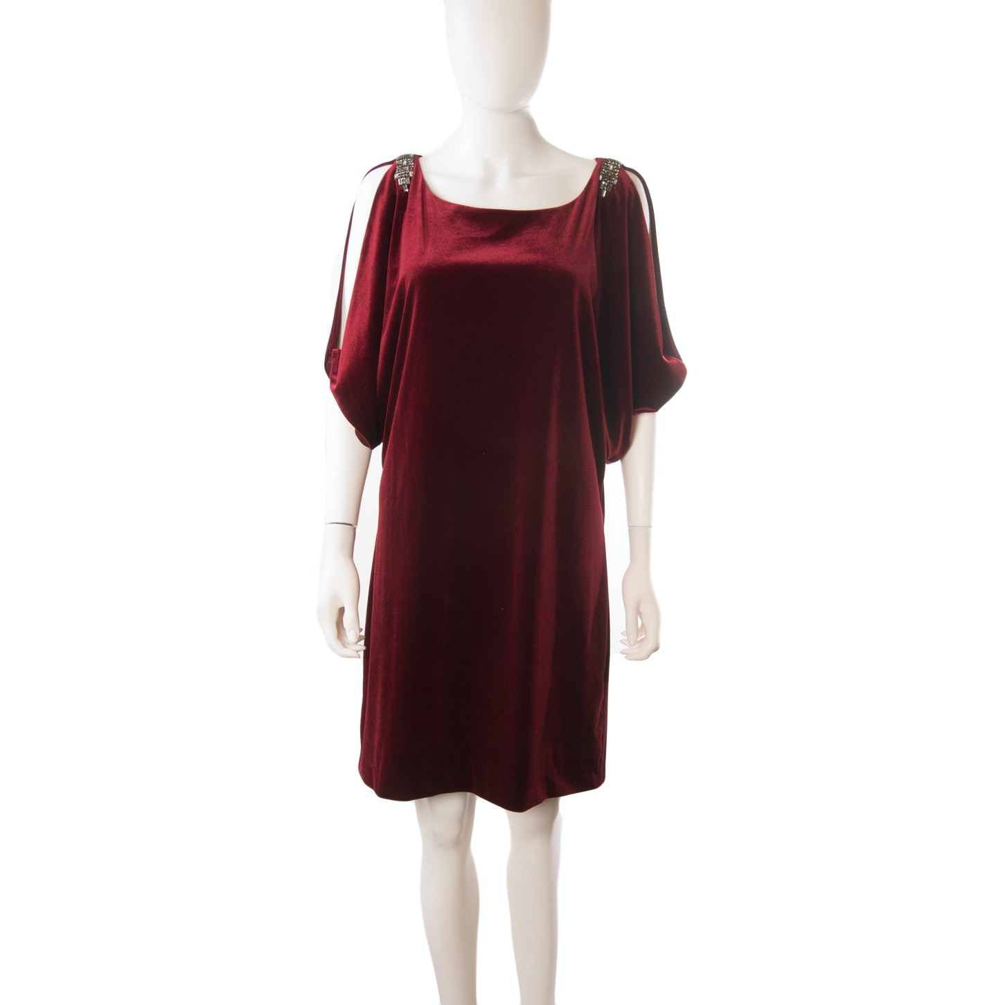 Aidan Mattox Velvet Cold Shoulder Cocktail Dress Embellished with Rhinestones