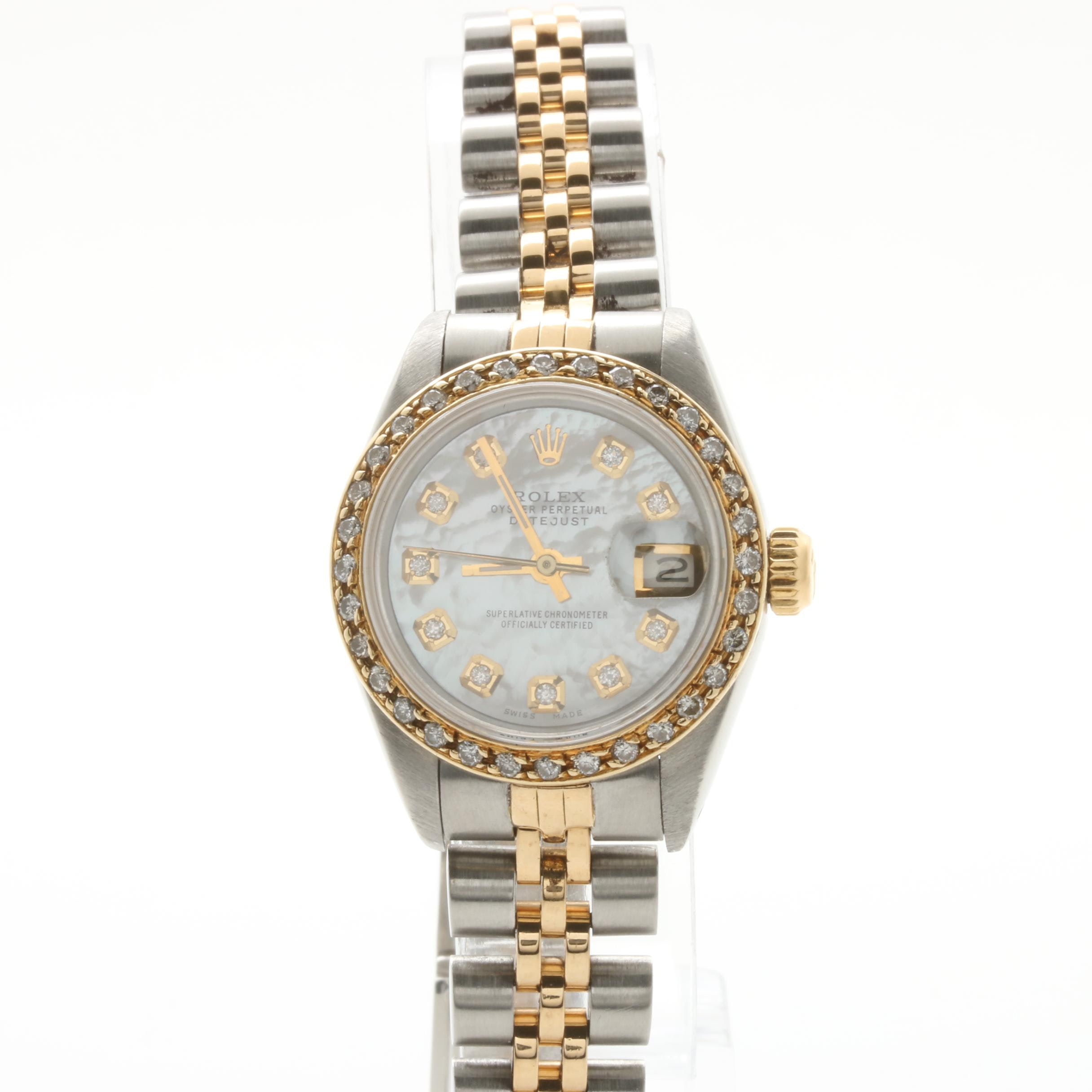 Rolex Datejust 18K Yellow Gold/SS Diamond and Mother of Pearl Dial Watch
