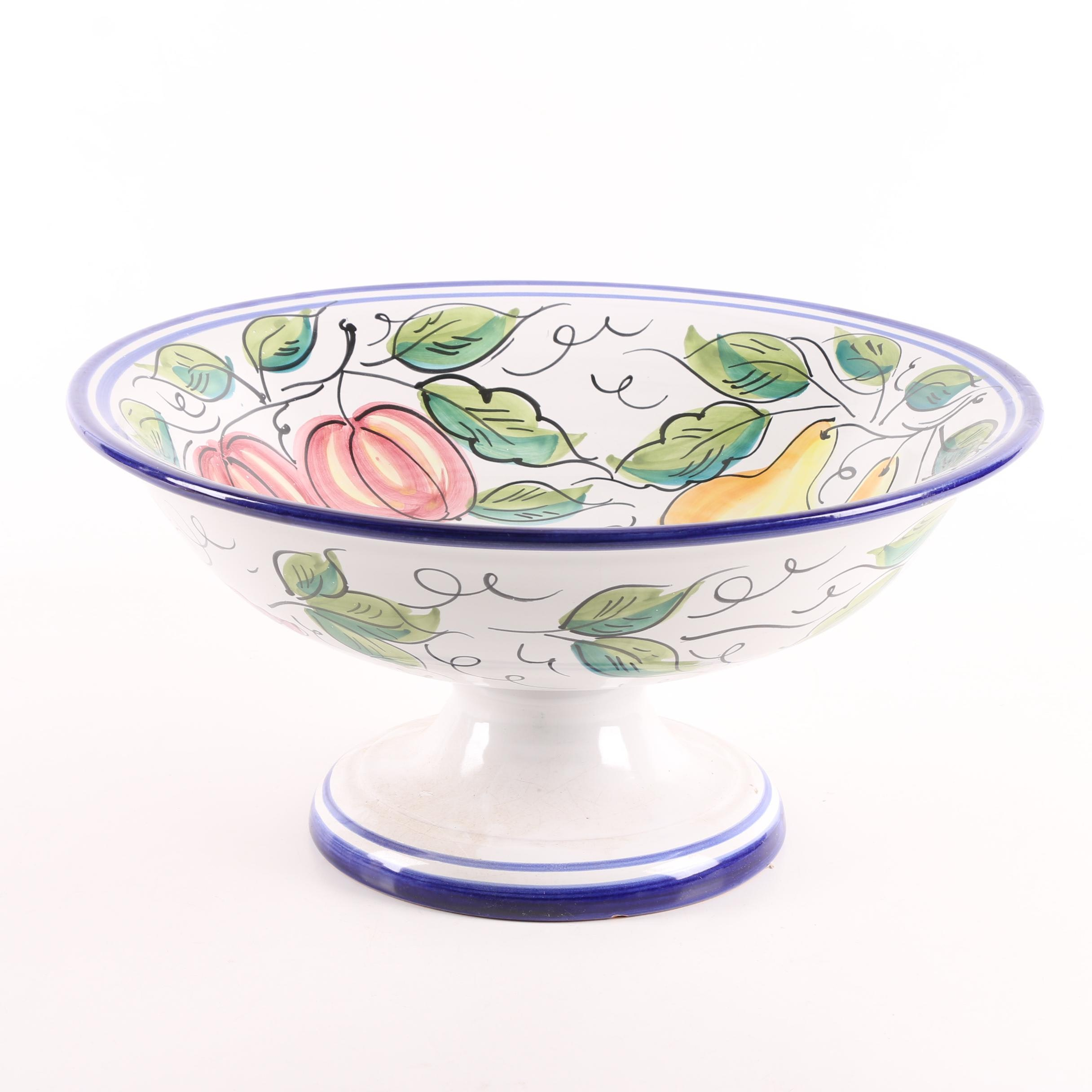 Vietri Italian Pottery Footed Bowl with Fruit Pattern