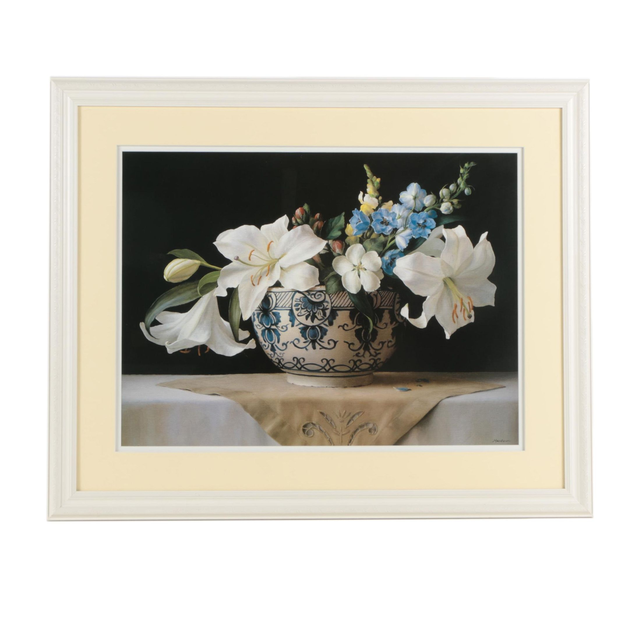 "Offset Lithograph After Ken Marlow ""Lilies in Delft"""
