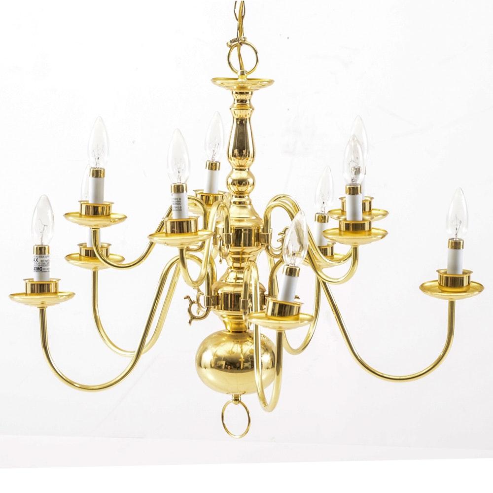 Contemporary Brass Candelabra Chandelier
