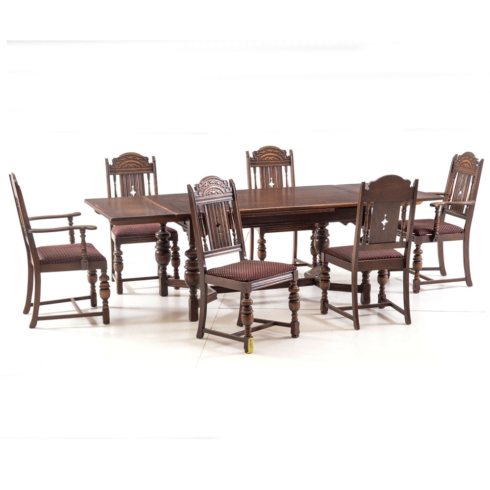 Oak Jacobean Style Dining Table with Six Chairs