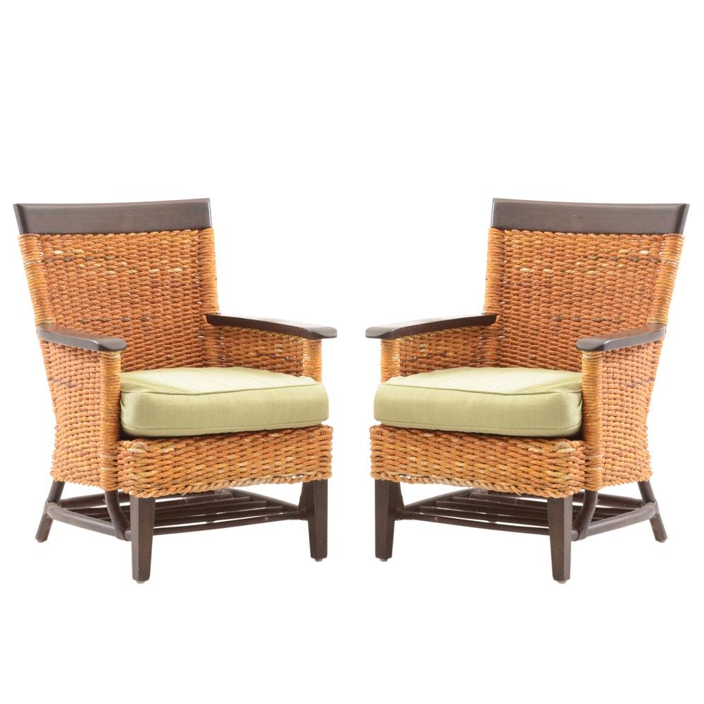 Pier 1 Raffia Woven Arm Chairs