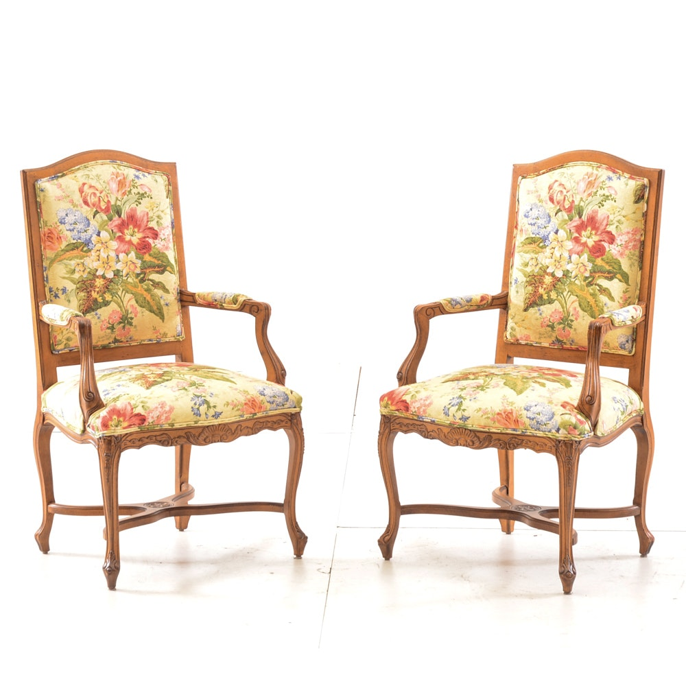 Pair of French Regency Style Arm Chairs