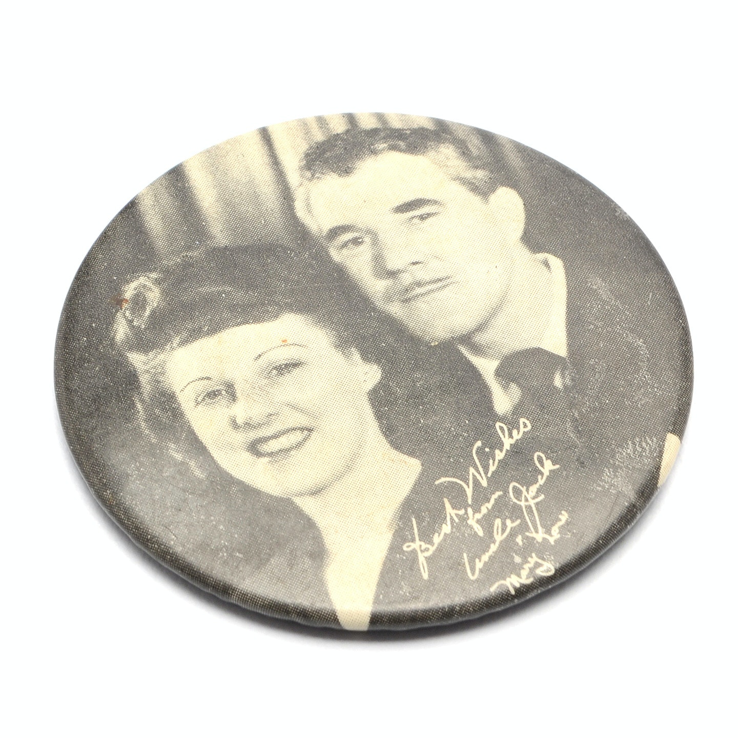"""1930s-1940s """"Uncle Jack and Mary"""" Lou"""" Pocket Mirror"""