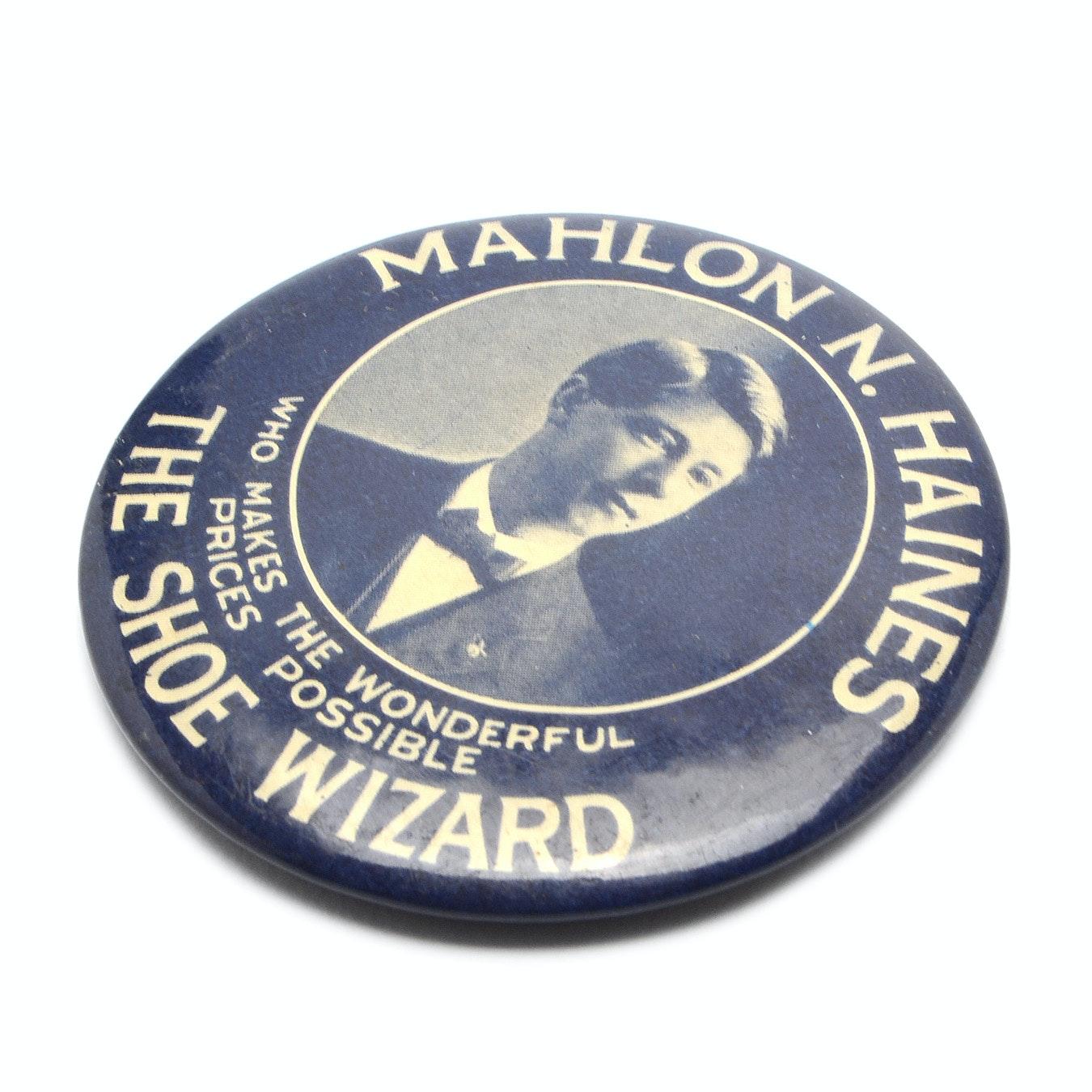 "Antique ""Mahlon Haines"" Shoes Pocket Mirror"