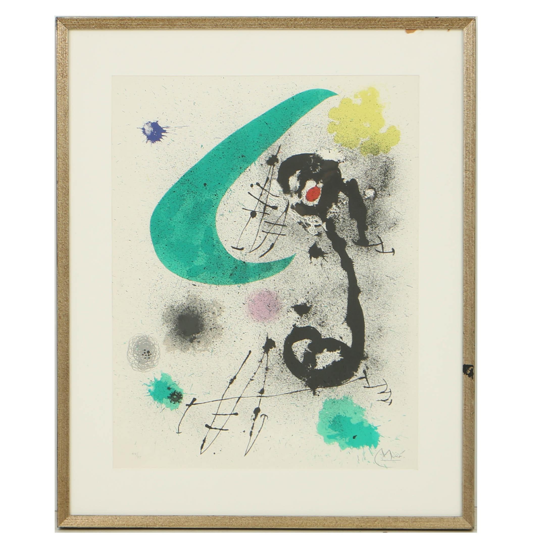 """Joan Miró Limited Edition Color Lithograph """"L'Oiseau Migrateur I"""""""