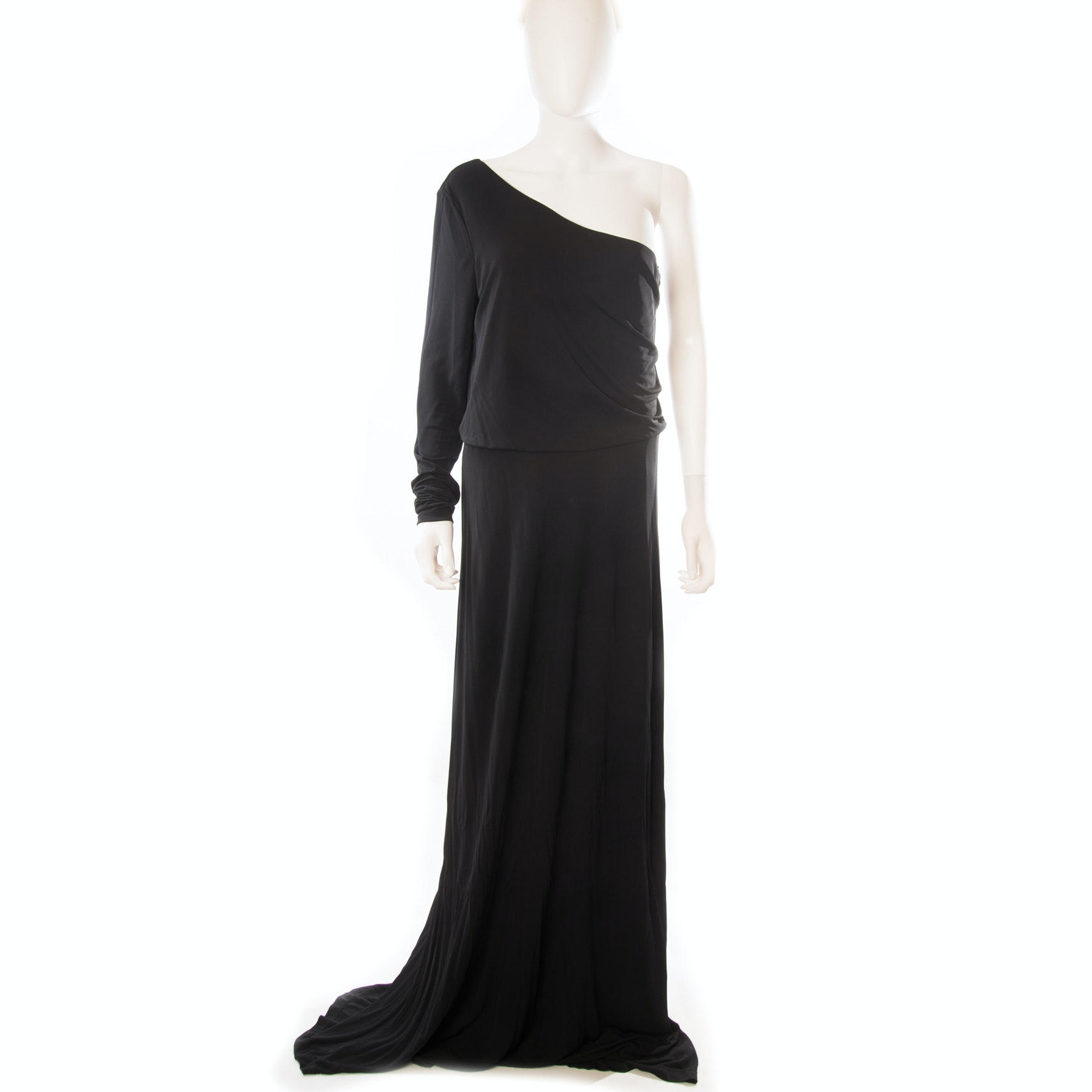 Halston Heritage One-Shoulder Black Maxi Dress