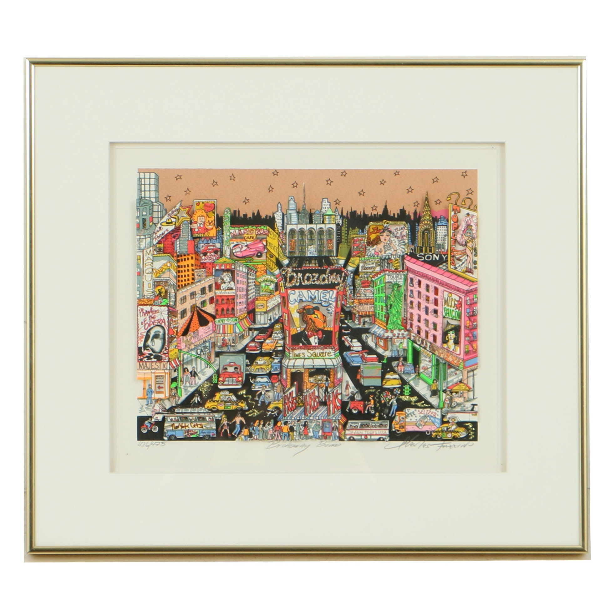 "Charles Fazzino Limited Edition Pop-Up Serigraph ""Broadway Bound"""
