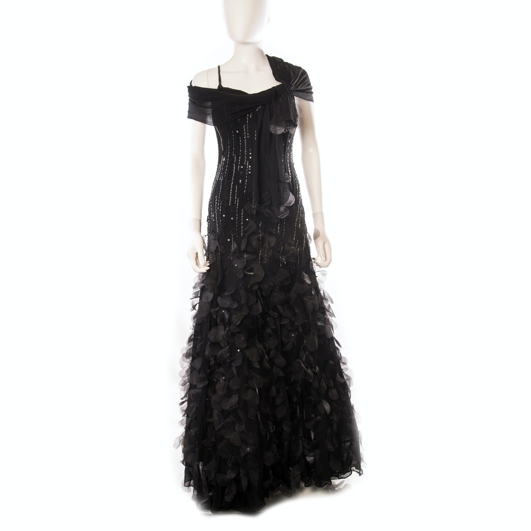 Aspeed Black Hand Beaded Embellished Evening Gown with Scarf
