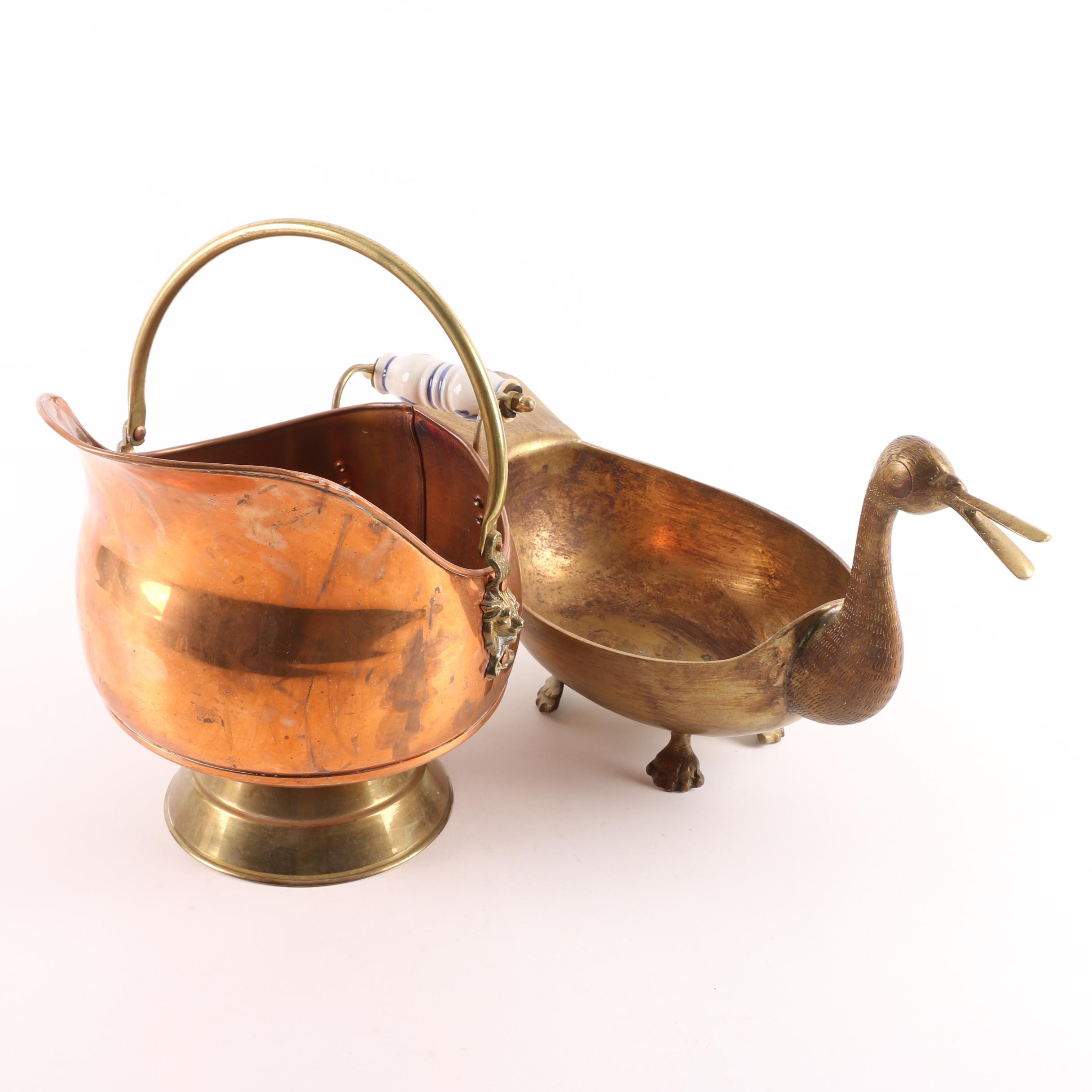 Copper Coal Scuttle with Duck Shaped Footed Brass Bowl