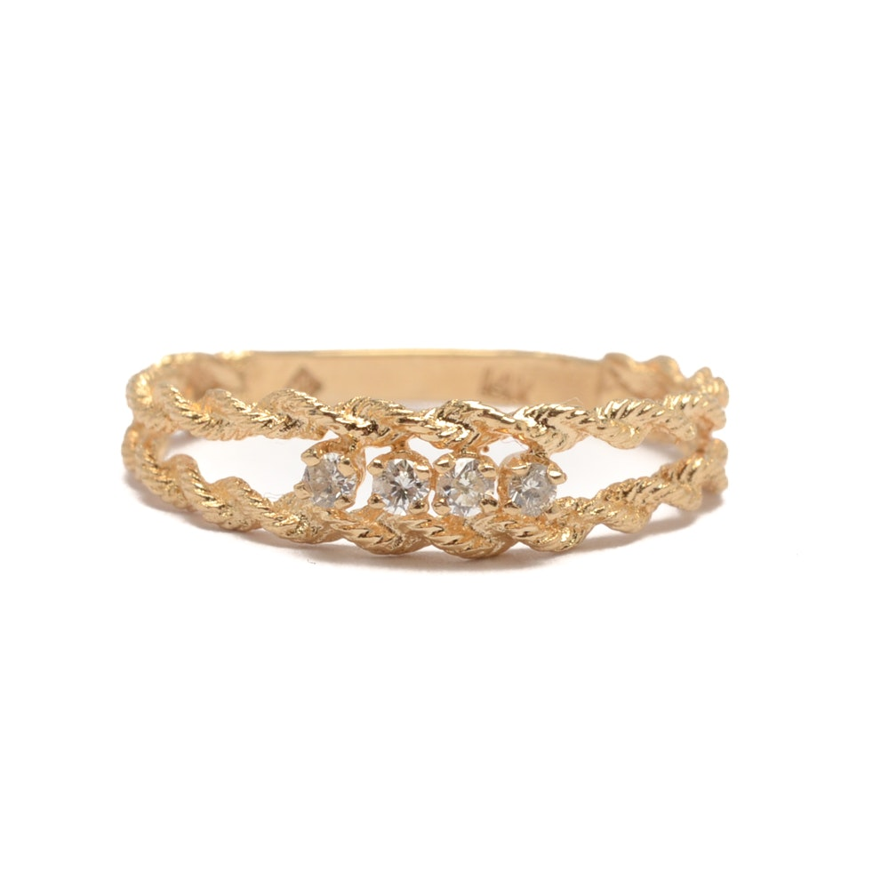 14K Yellow Gold Double Rope Style Diamond Ring