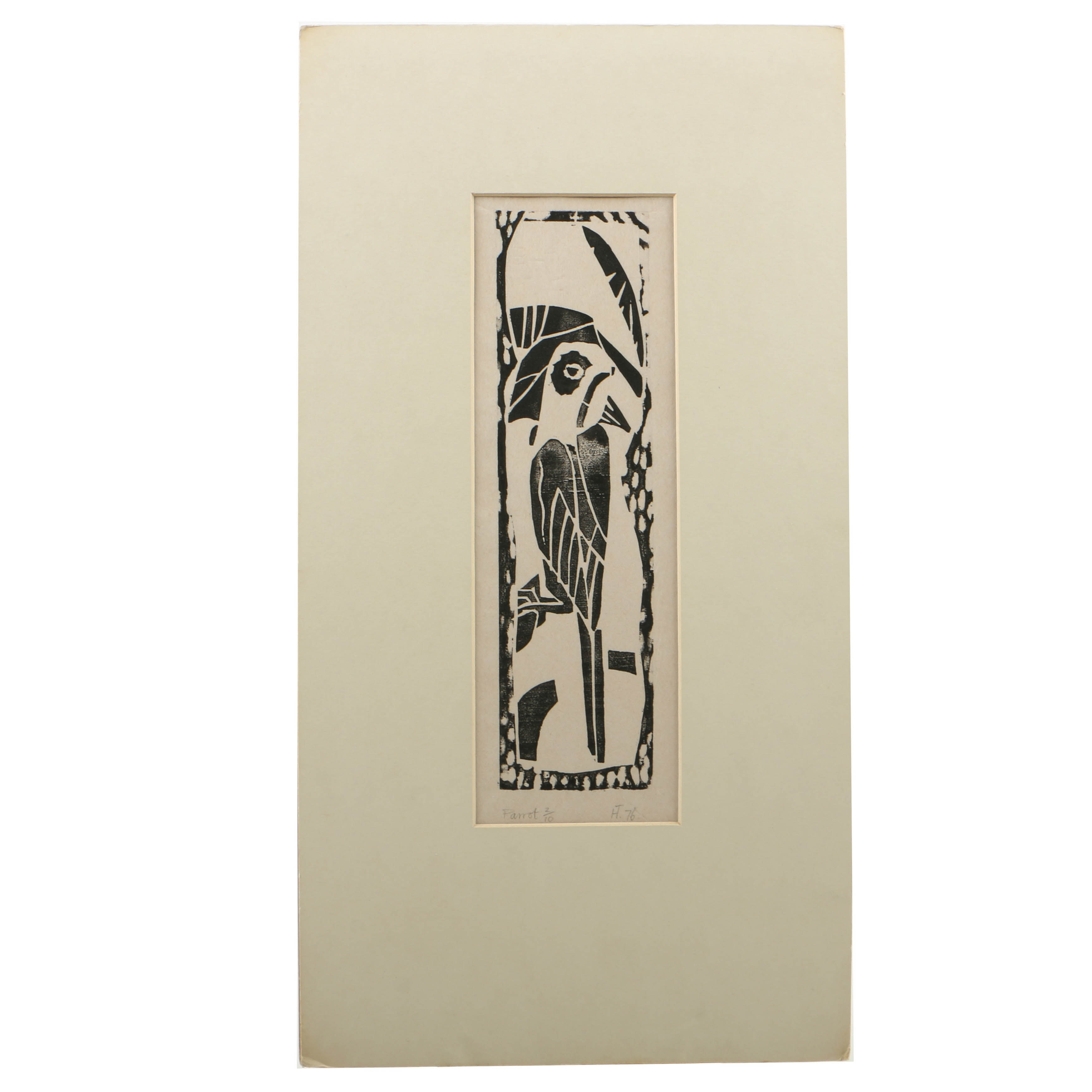 """Howard Thompson Limited Edition Woodcut on Paper """"Parrot"""""""
