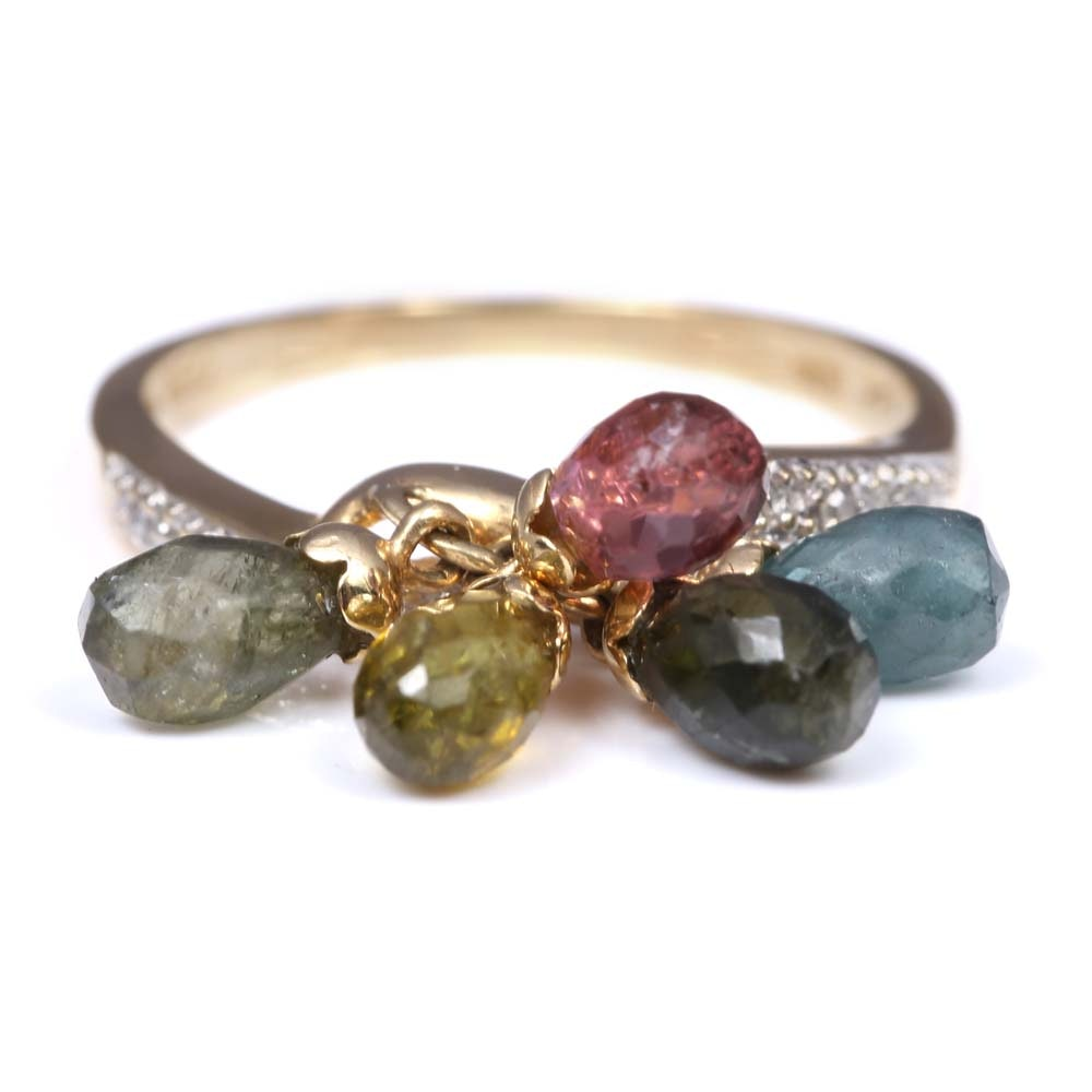 14K Yellow Gold Multicolor Tourmaline and Diamond Ring