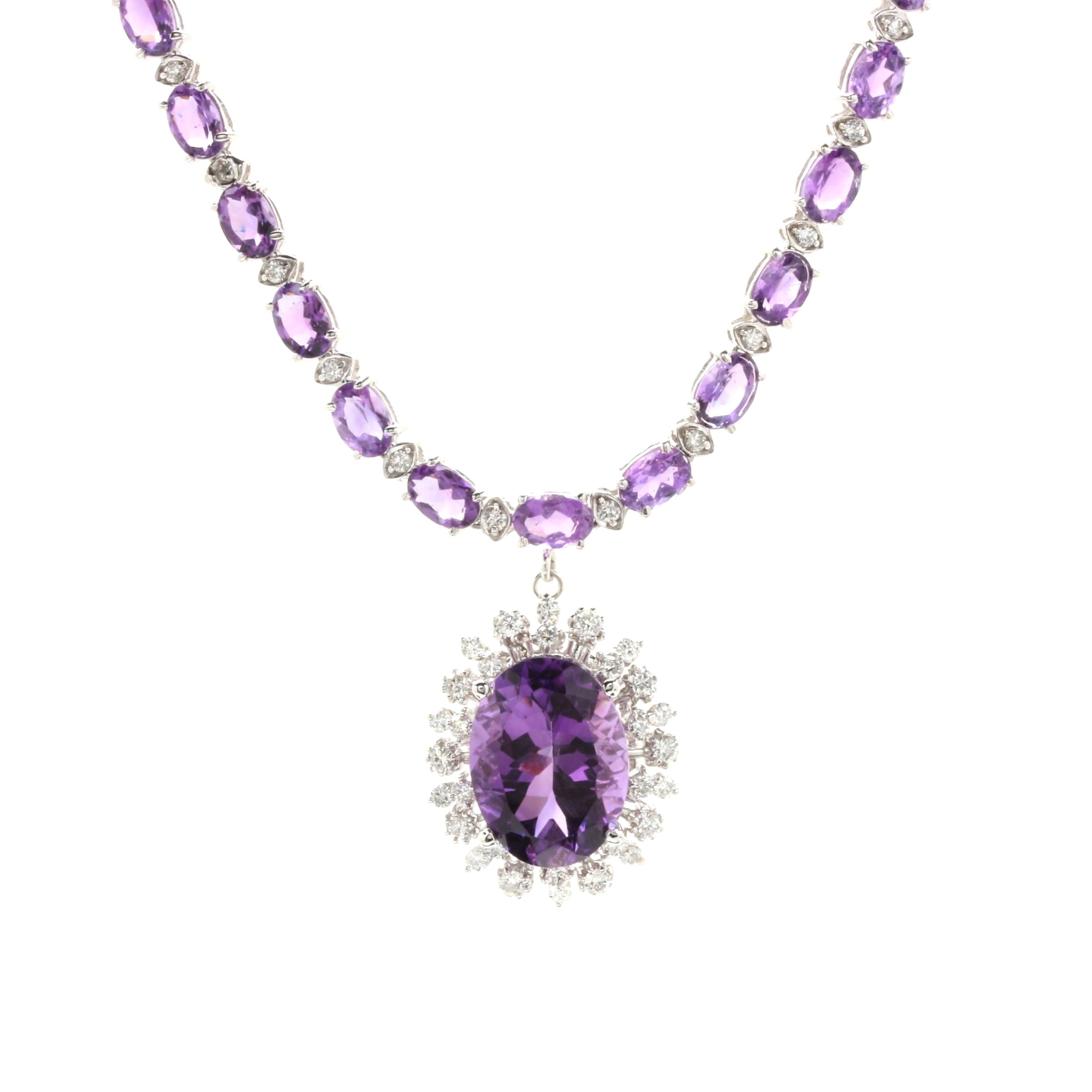 14K White Gold 8.33 CT Amethyst and 2.08 CTW Diamond Pendant Necklace