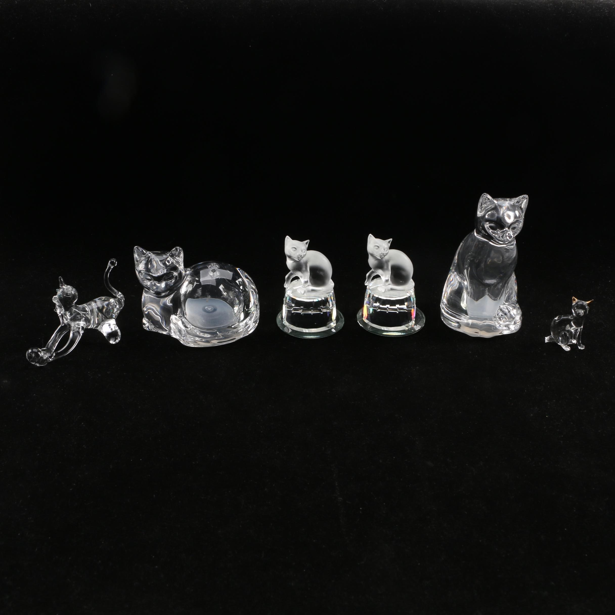 Glass Cat Figurines including Salt and Pepper Shakers