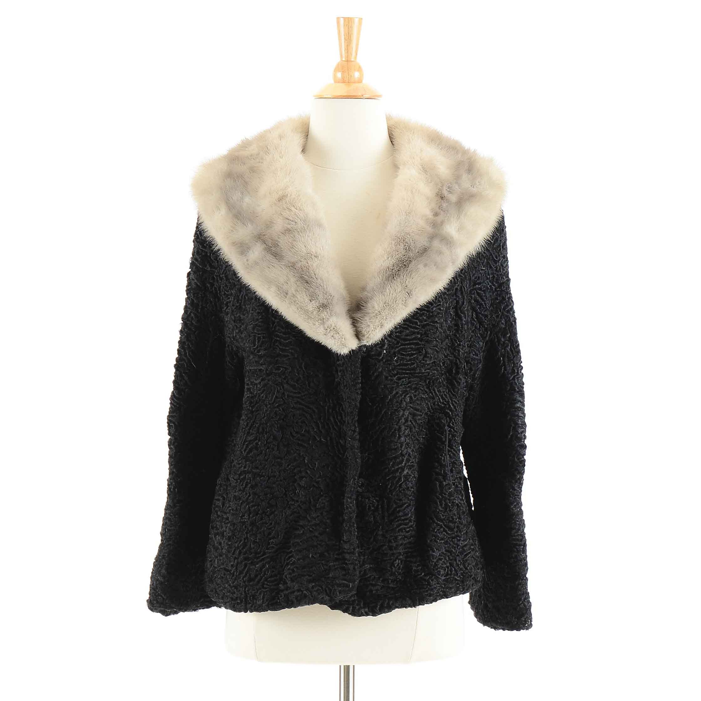 Vintage Persian Lamb Jacket with Mink Fur Collar