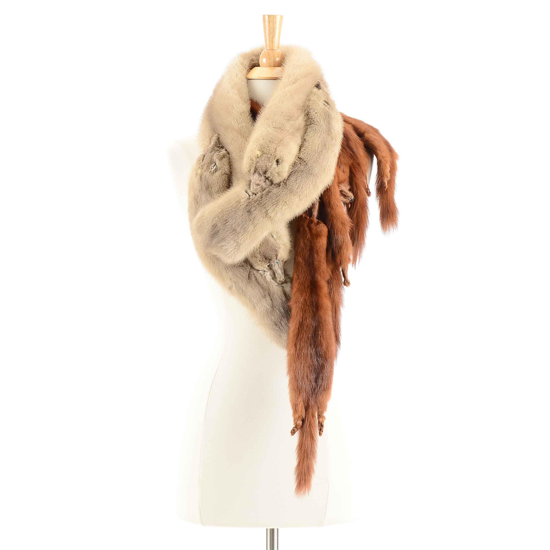 Woman's Vintage Blonde and Brown Mink Fur Collars
