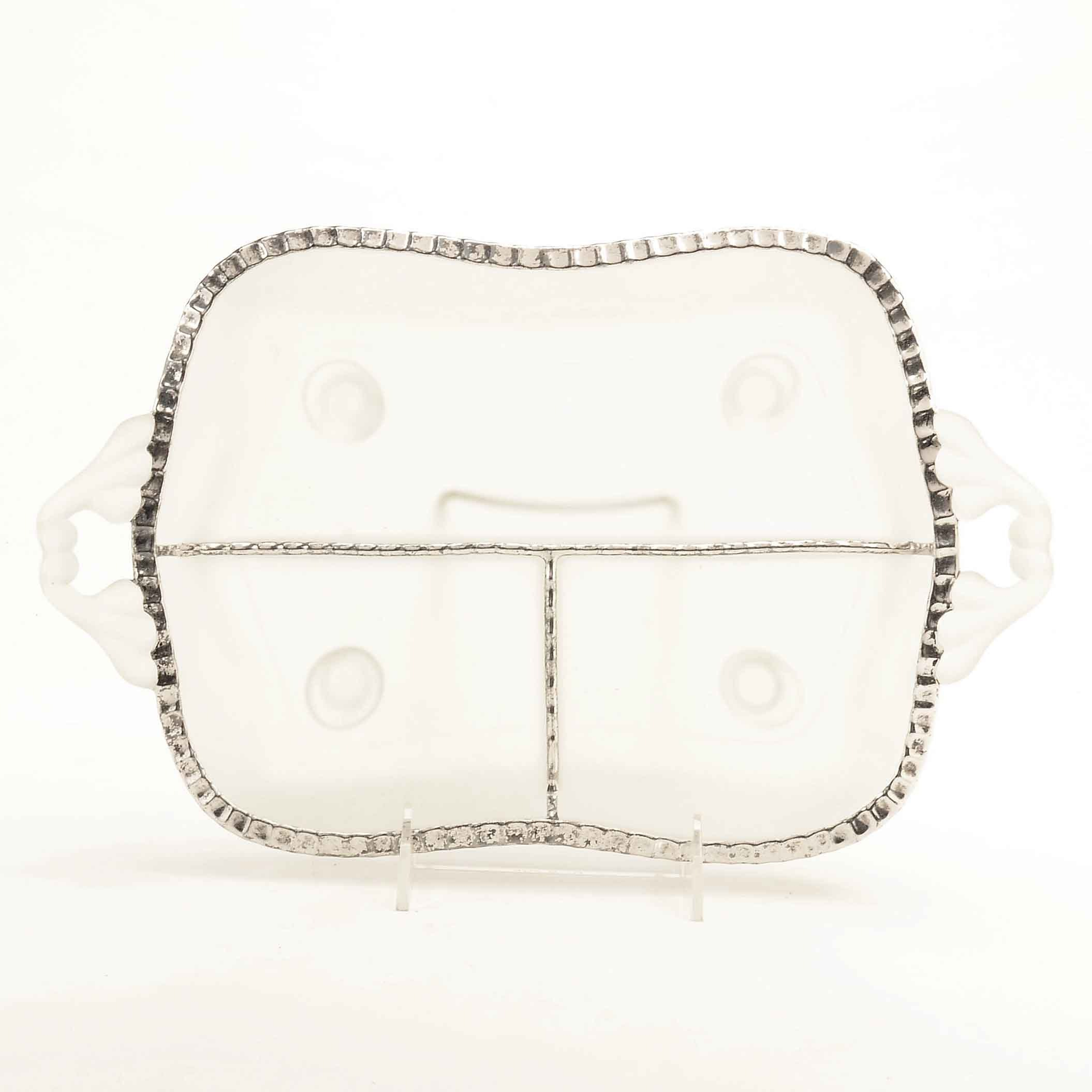 Frosted Divided Glass Tray