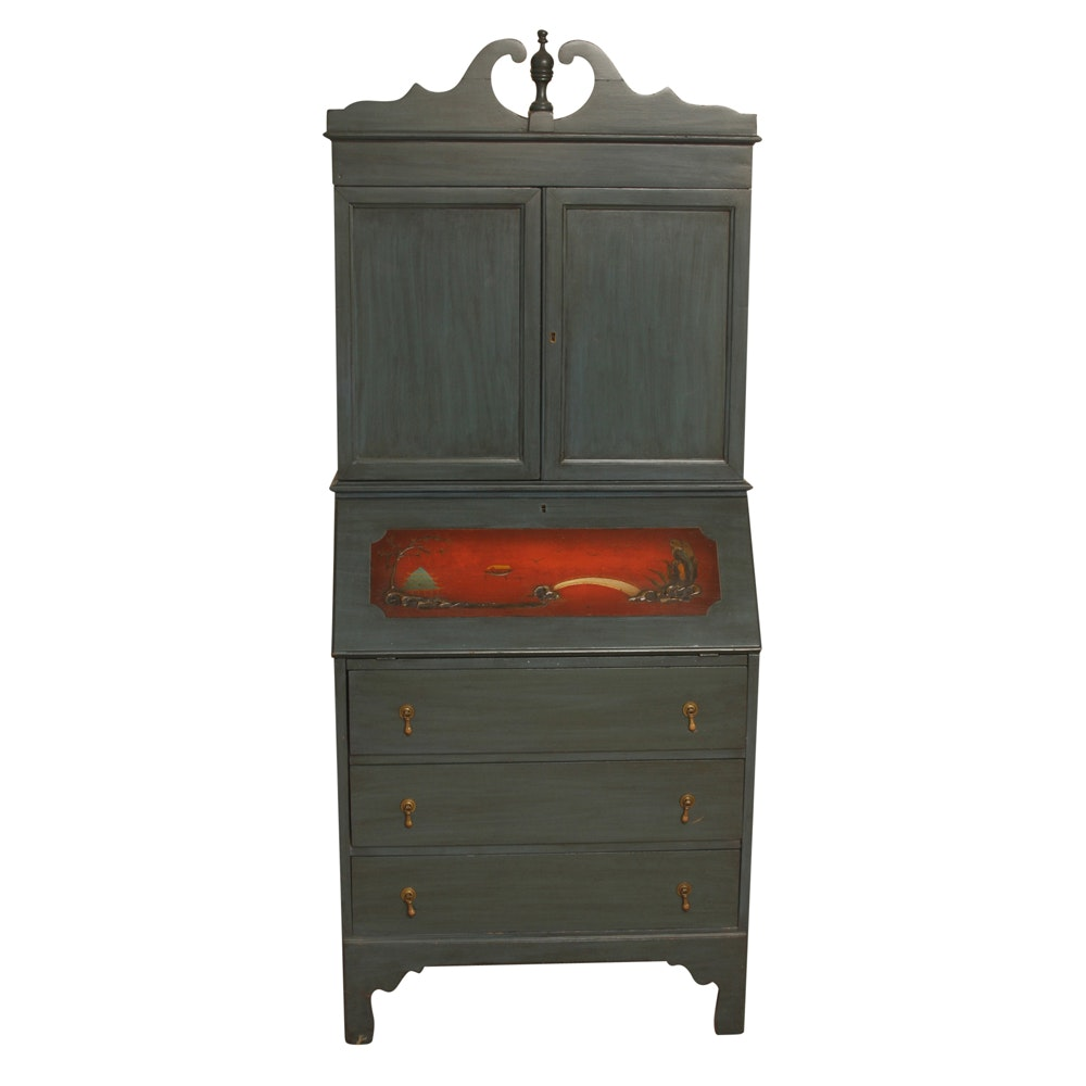 Painted Slant Front Secretary Desk with Cabinet