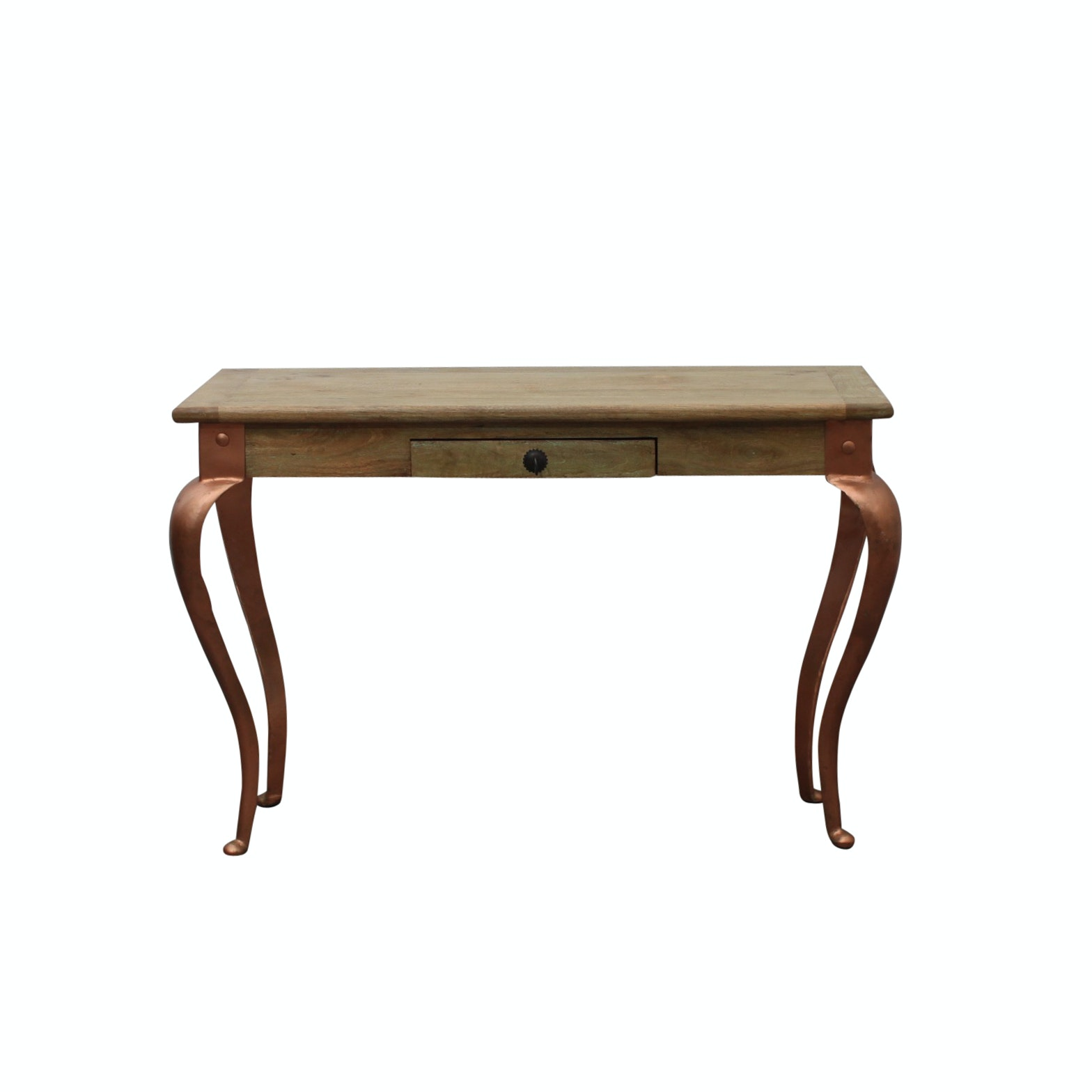 Rustic Console Table with Copper Tone Legs