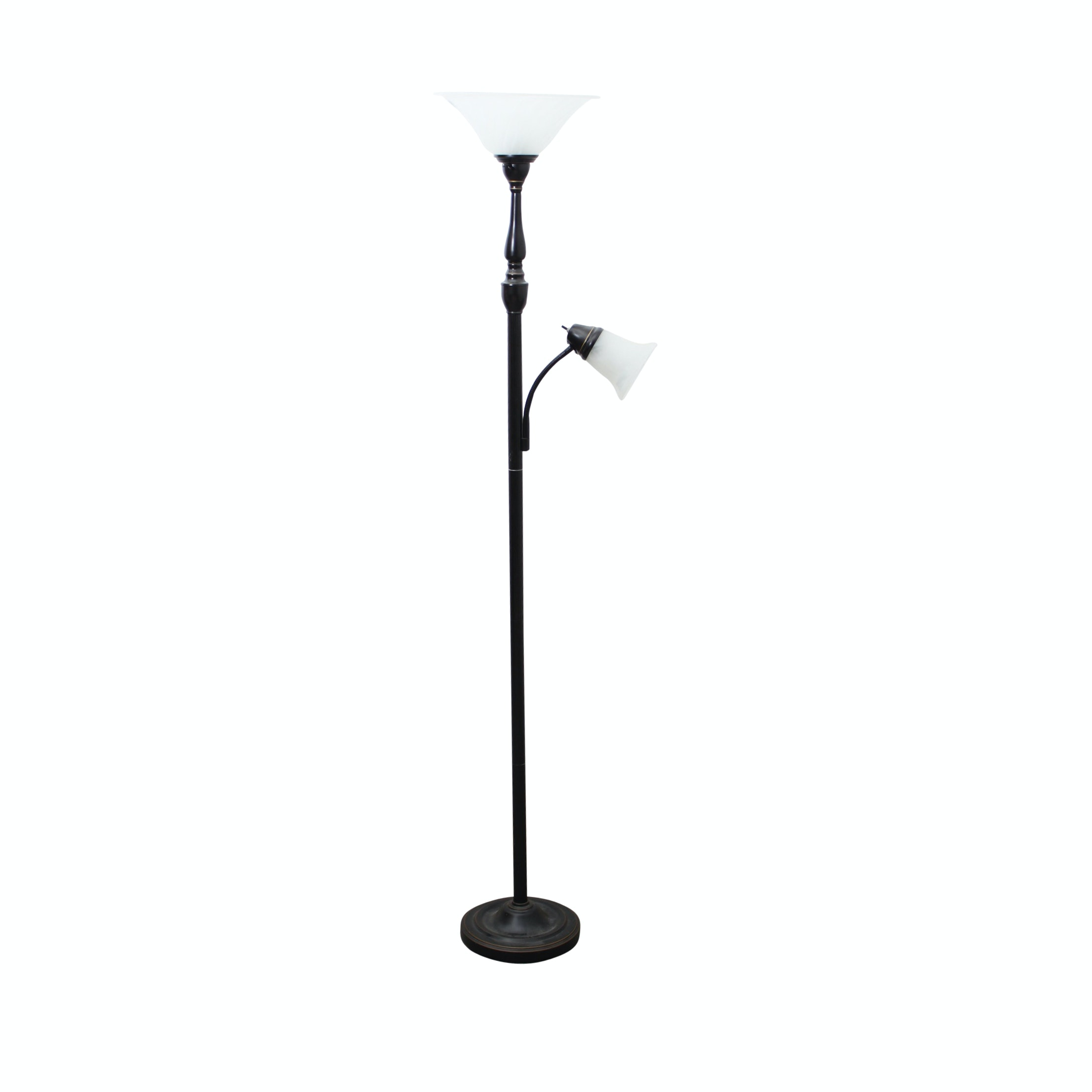 Contemporary Torchiere Floor Lamp With Reading Light