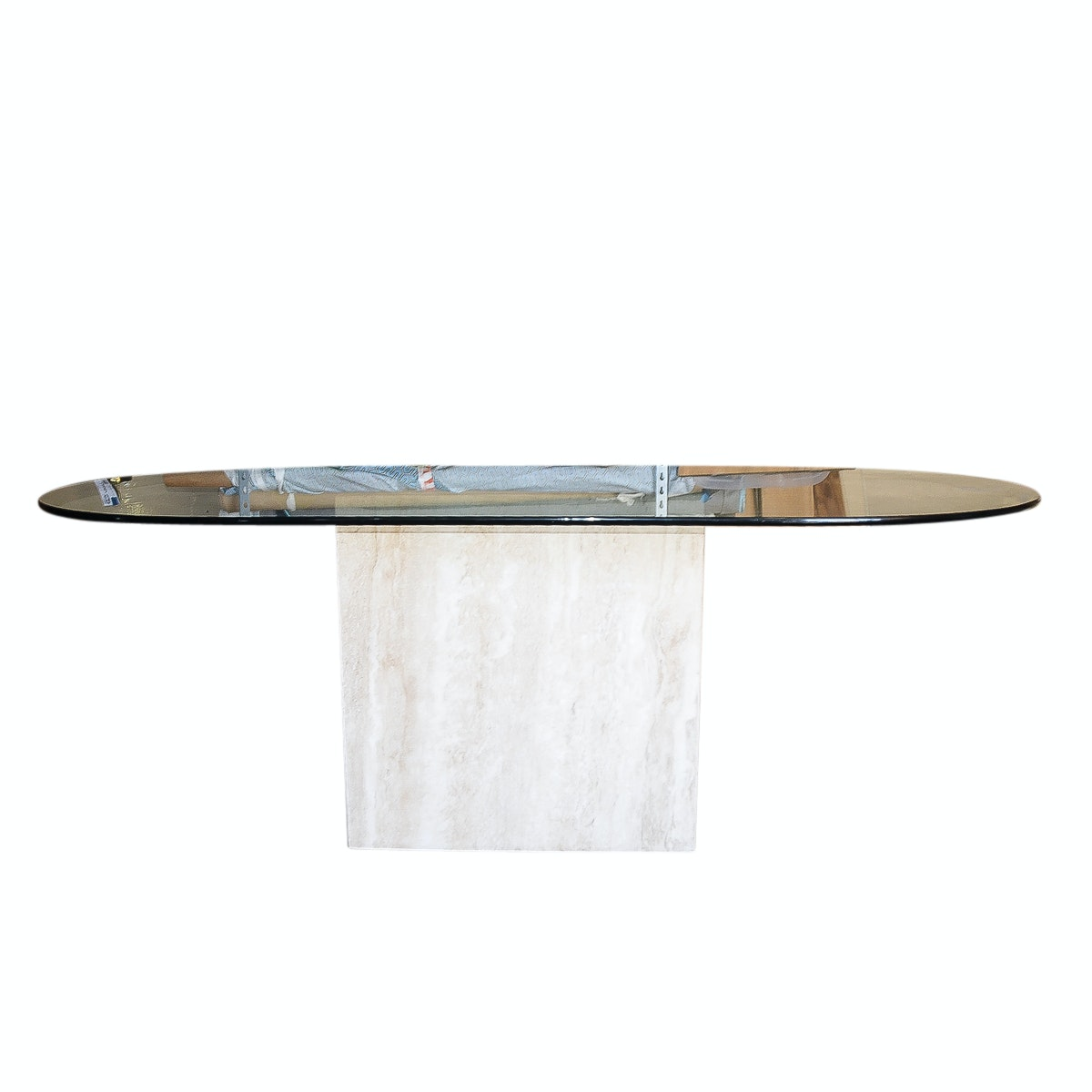 Glass Table Top With Stone Base