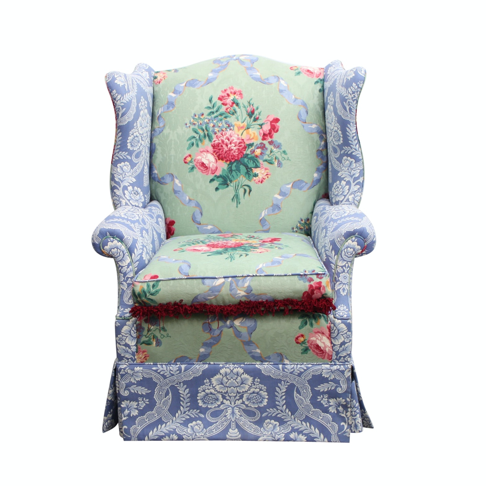 Floral Upholstered Wingback Chair
