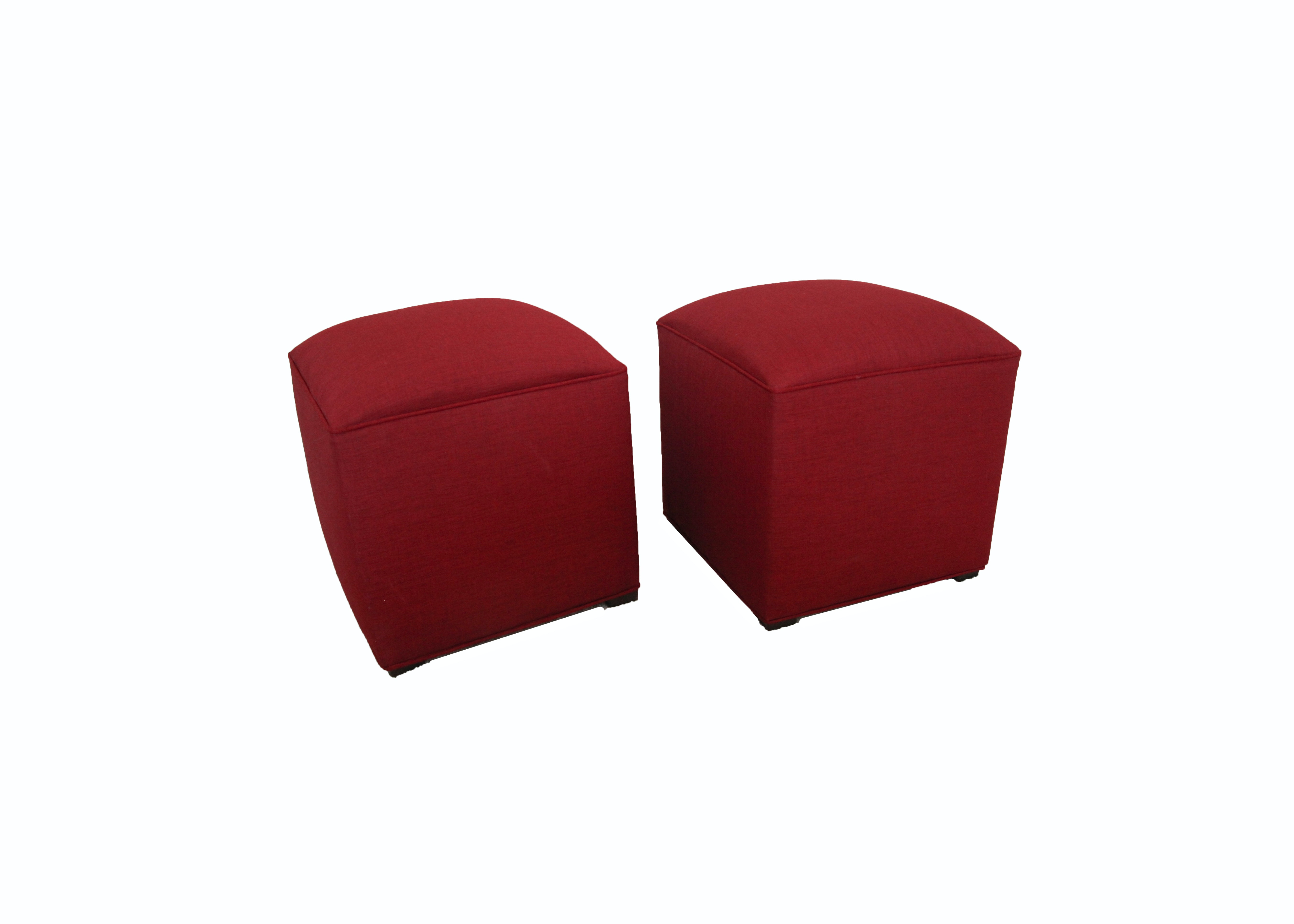 Contemporary Red Upholstered Ottomans