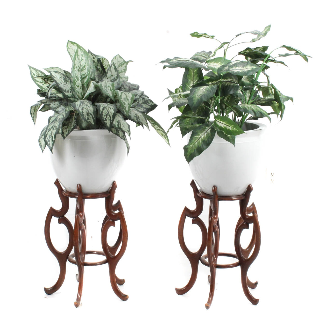 Pair of White Glazed Ceramic Planters