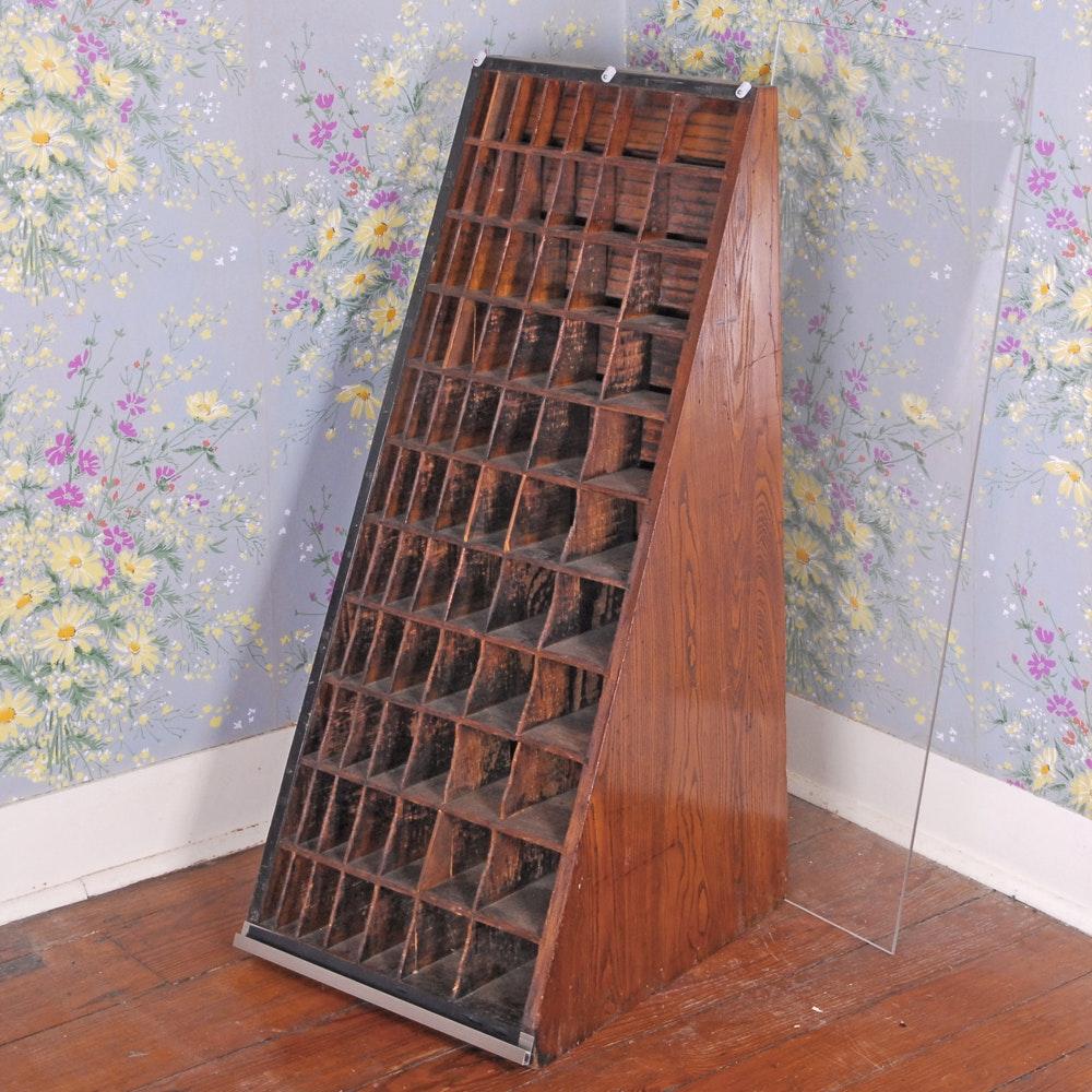 Vintage Oak Printer's Cabinet