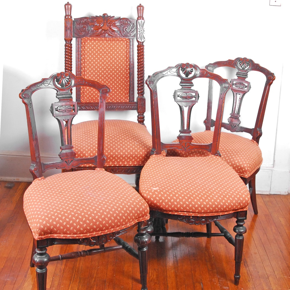 Four Antique Victorian Style Dining Chairs