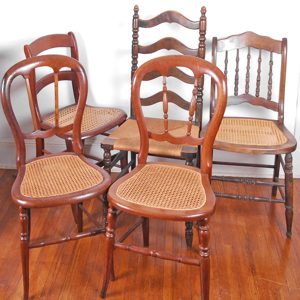 Five Vintage Cane and Rush Seat Chairs