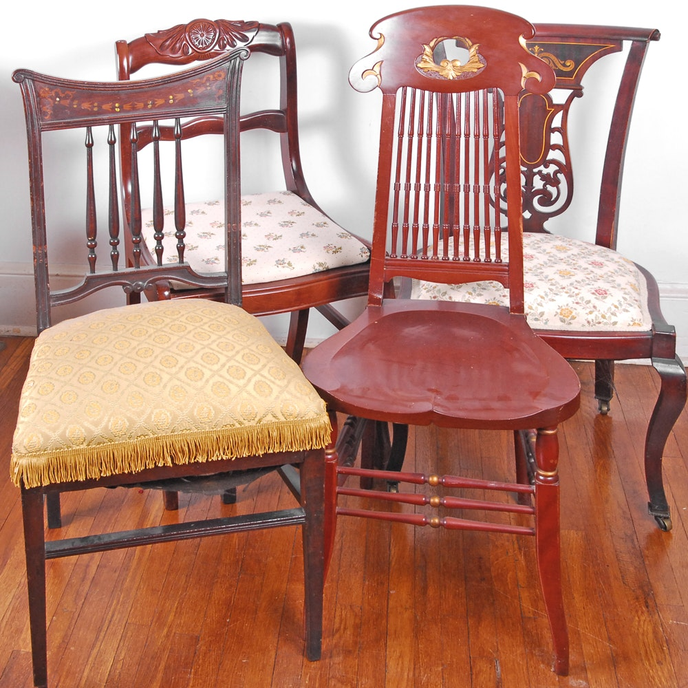 Four Antique and Vintage Dining Chairs