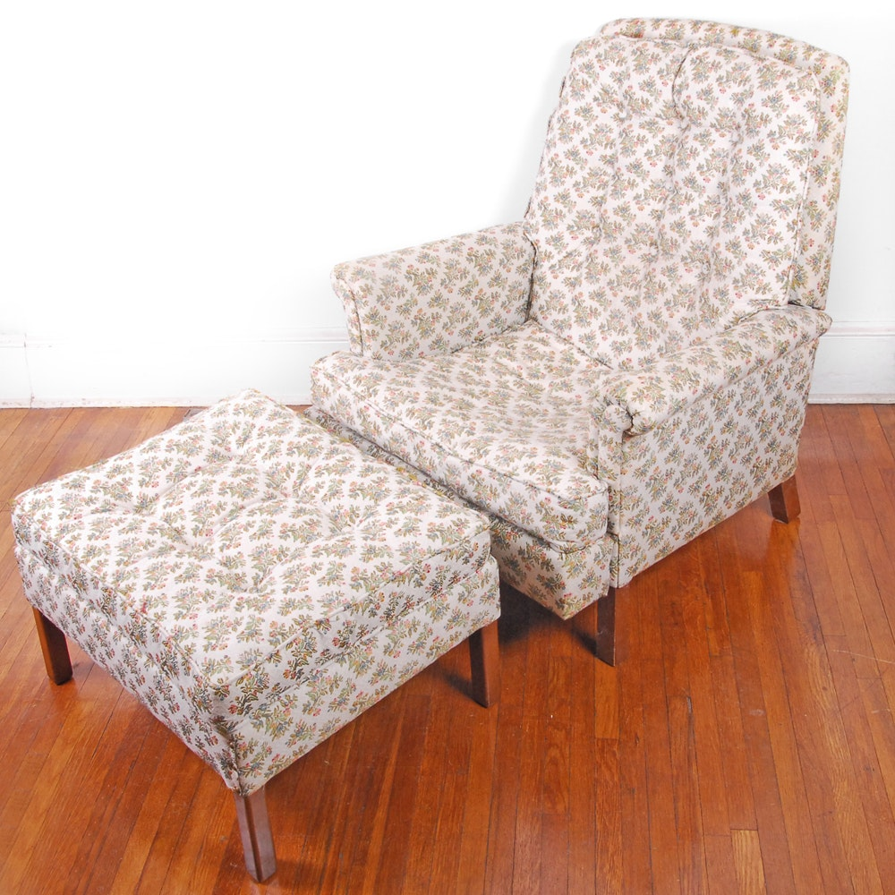 Vintage Floral Upholstered Armchair with Ottoman