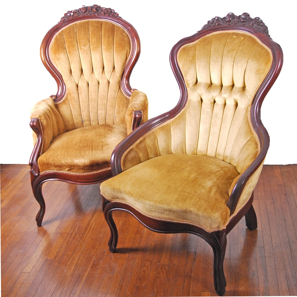 Vintage Victorian Style Upholstered Armchairs by Kimball Furniture