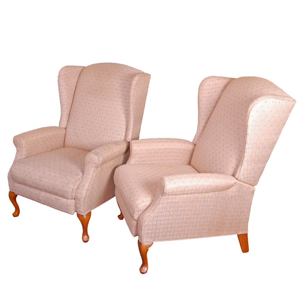 Vintage Queen Anne Style Wingback Recliners by Burris Industries