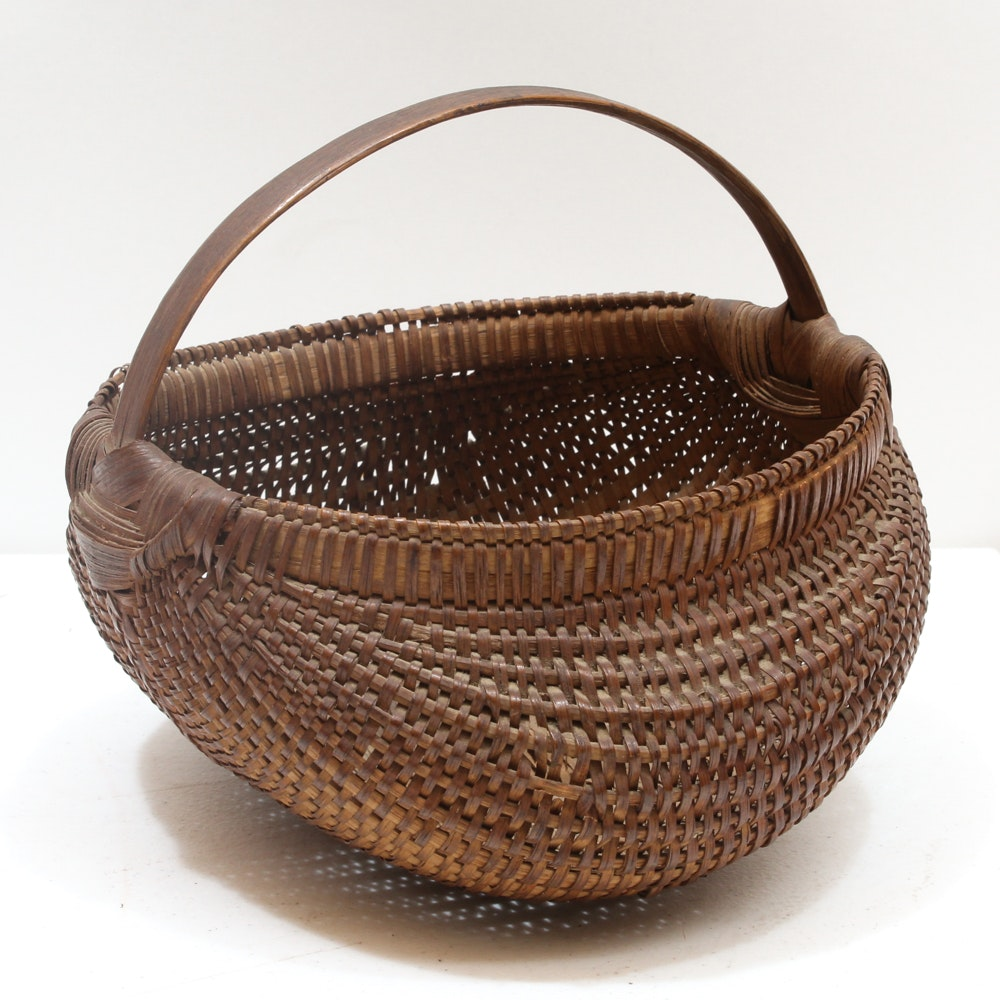 Woven Buttocks Style Egg Basket With Bentwood Handle