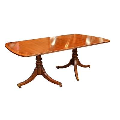 Duncan Phyfe Style Double Pedestal Table By Henredon