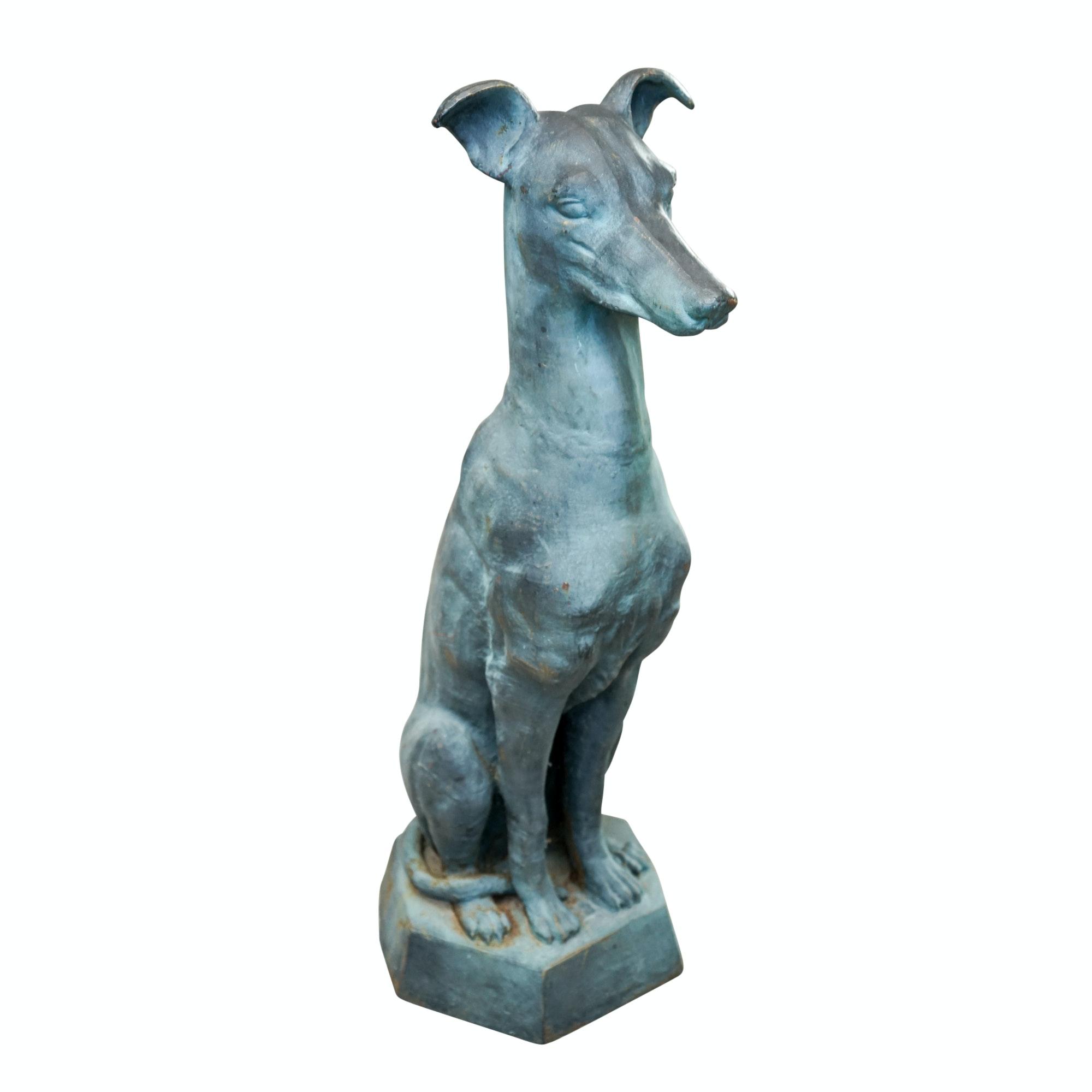 Cast Metal Greyhound Garden Sculpture