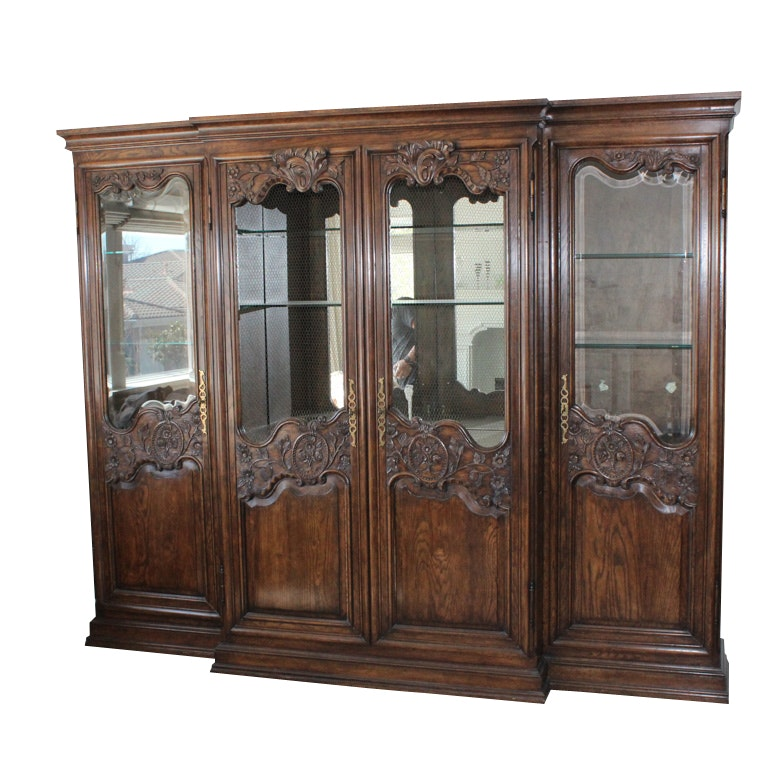Vintage French Provincial Style Lighted Display Cabinet